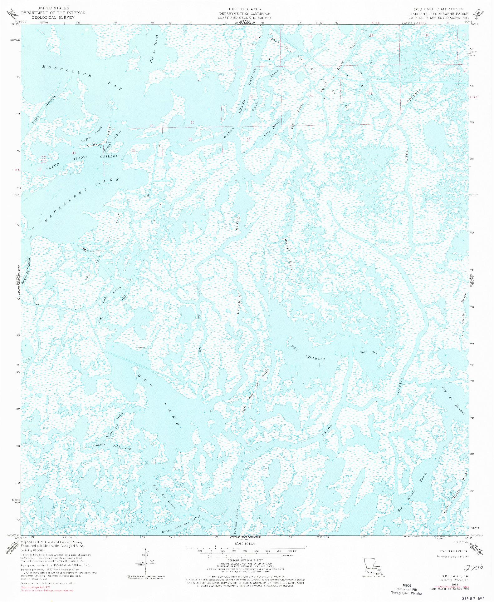 USGS 1:24000-SCALE QUADRANGLE FOR DOG LAKE, LA 1953