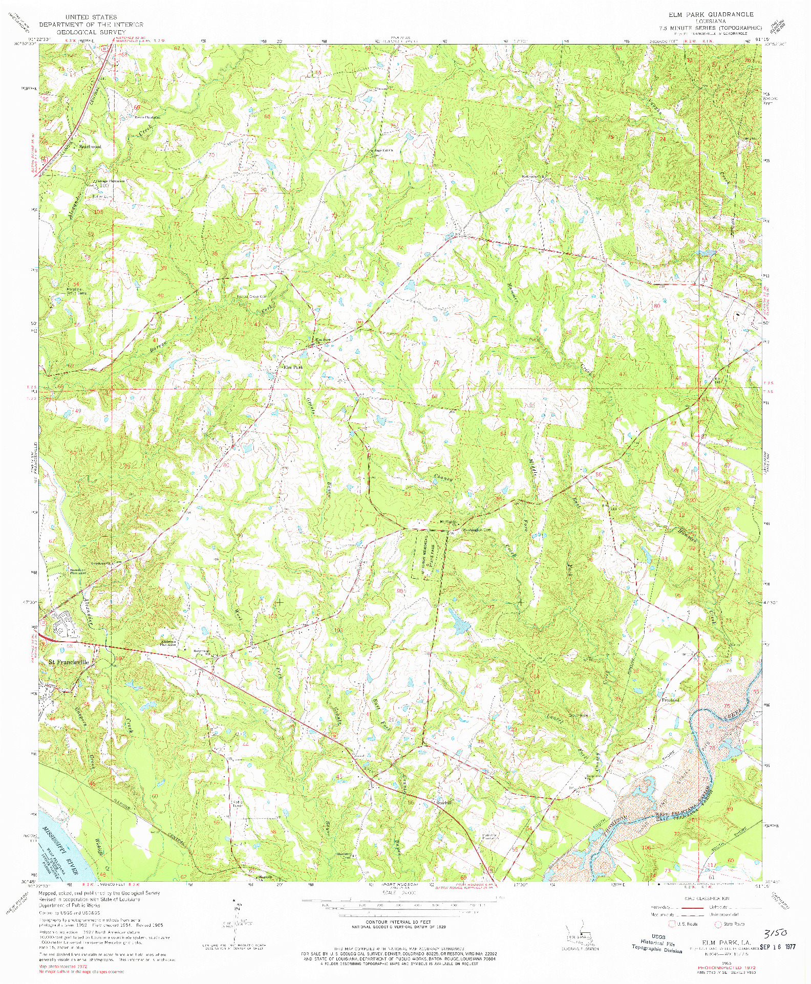 USGS 1:24000-SCALE QUADRANGLE FOR ELM PARK, LA 1965