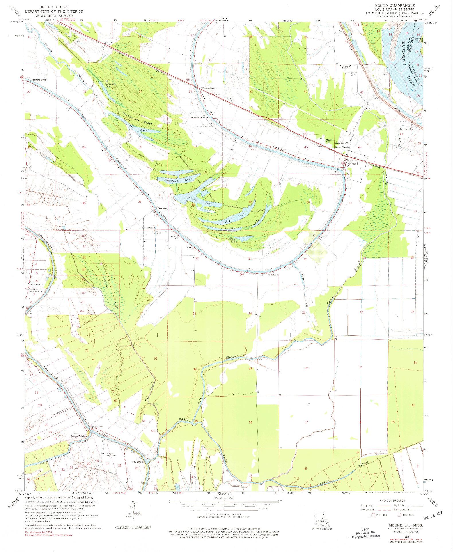 USGS 1:24000-SCALE QUADRANGLE FOR MOUND, LA 1963