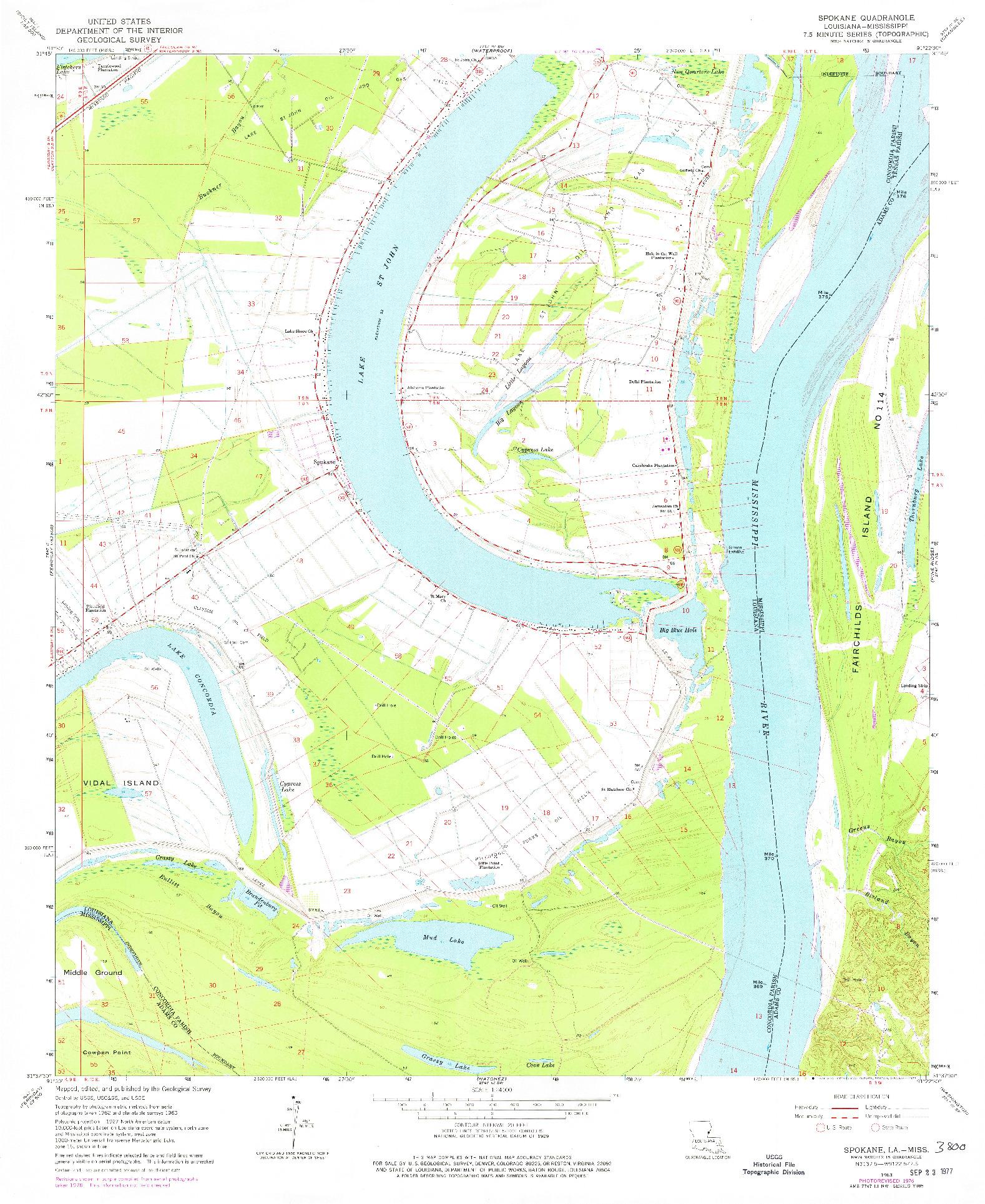 USGS 1:24000-SCALE QUADRANGLE FOR SPOKANE, LA 1963