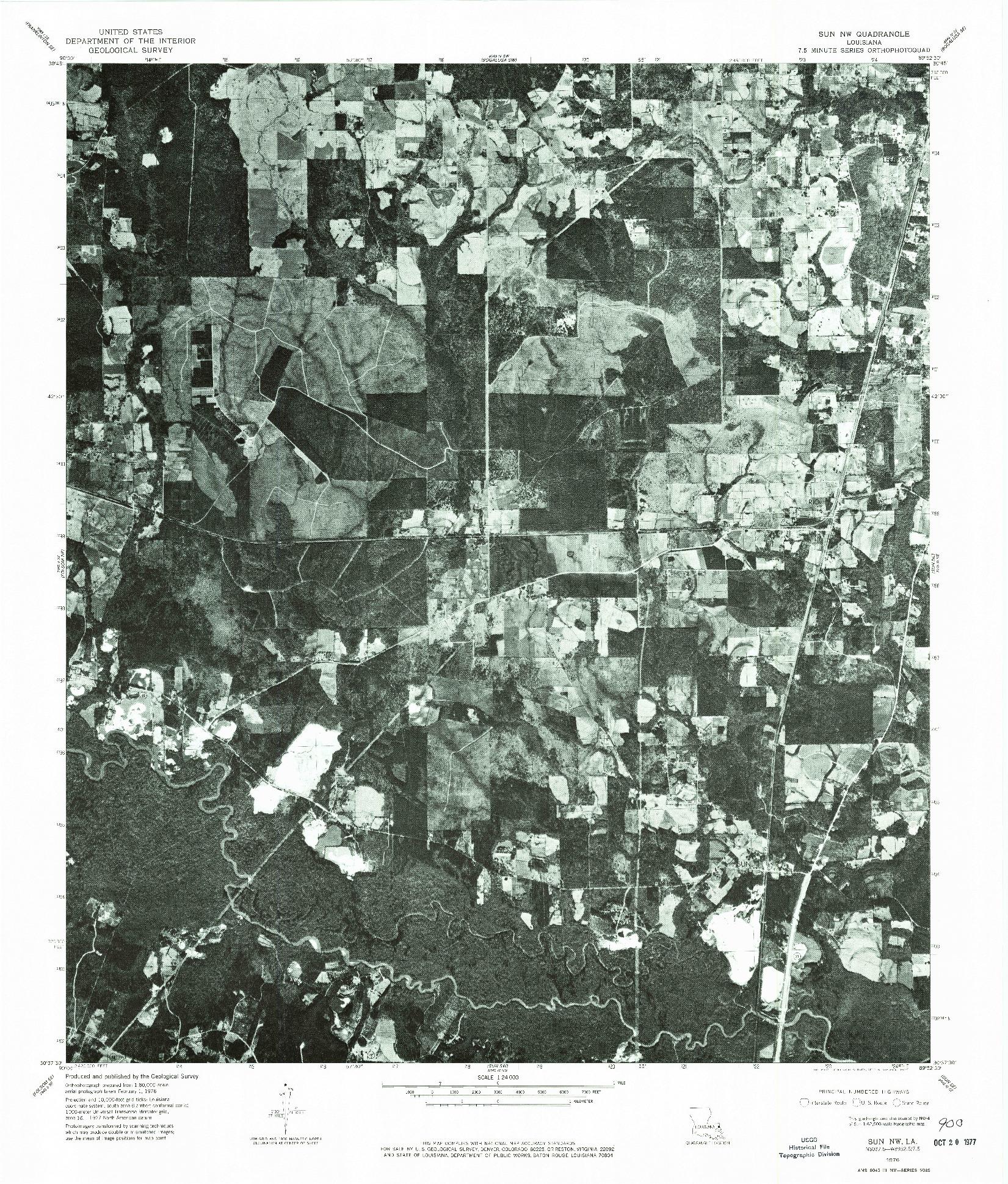 USGS 1:24000-SCALE QUADRANGLE FOR SUN NW, LA 1976