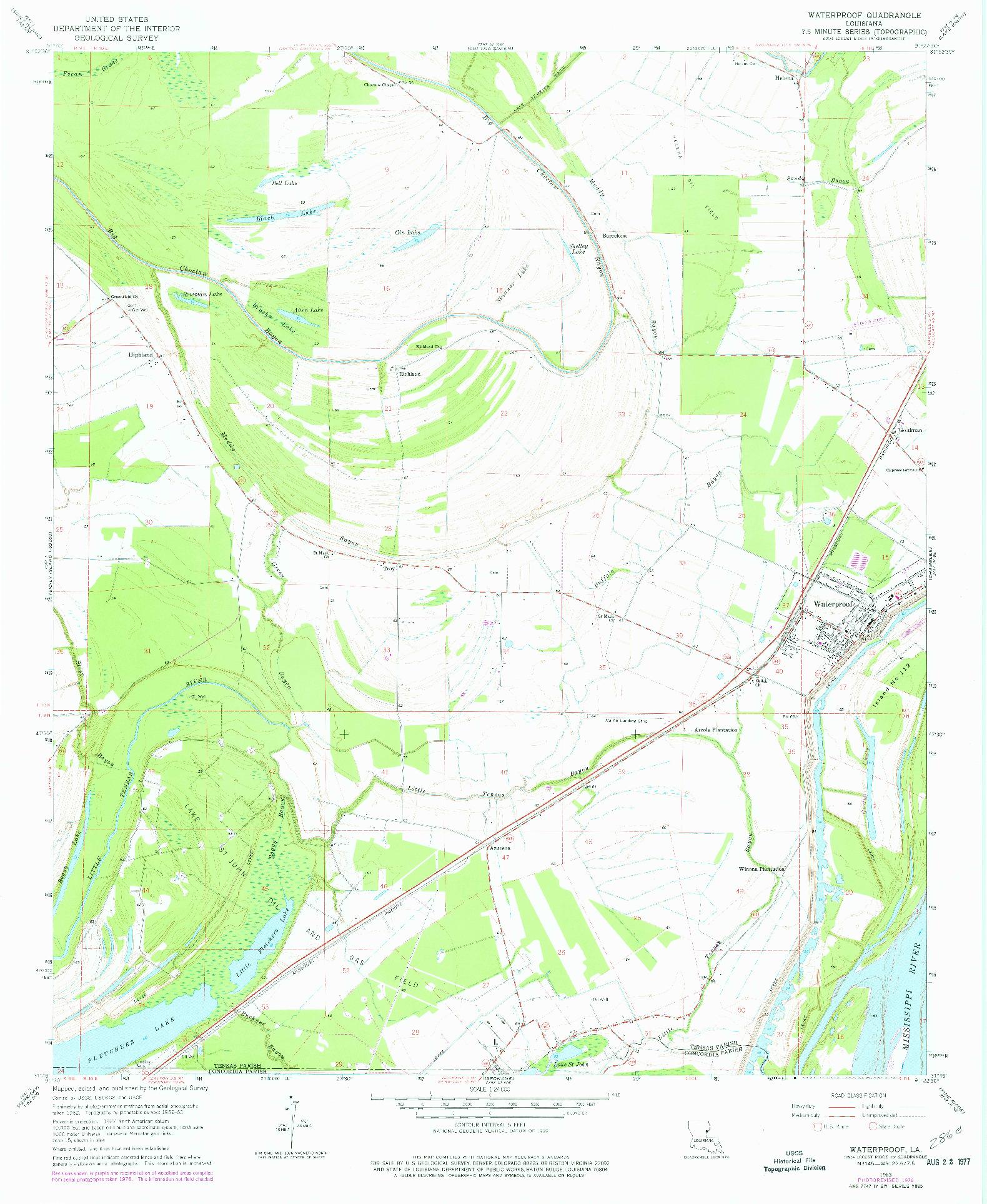 USGS 1:24000-SCALE QUADRANGLE FOR WATERPROOF, LA 1963