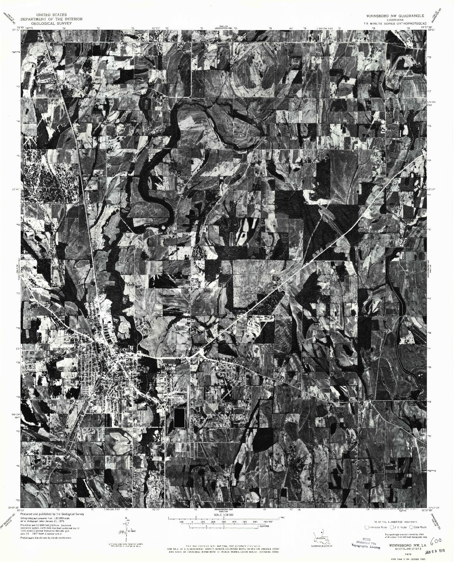 USGS 1:24000-SCALE QUADRANGLE FOR WINNSBORO NW, LA 1976