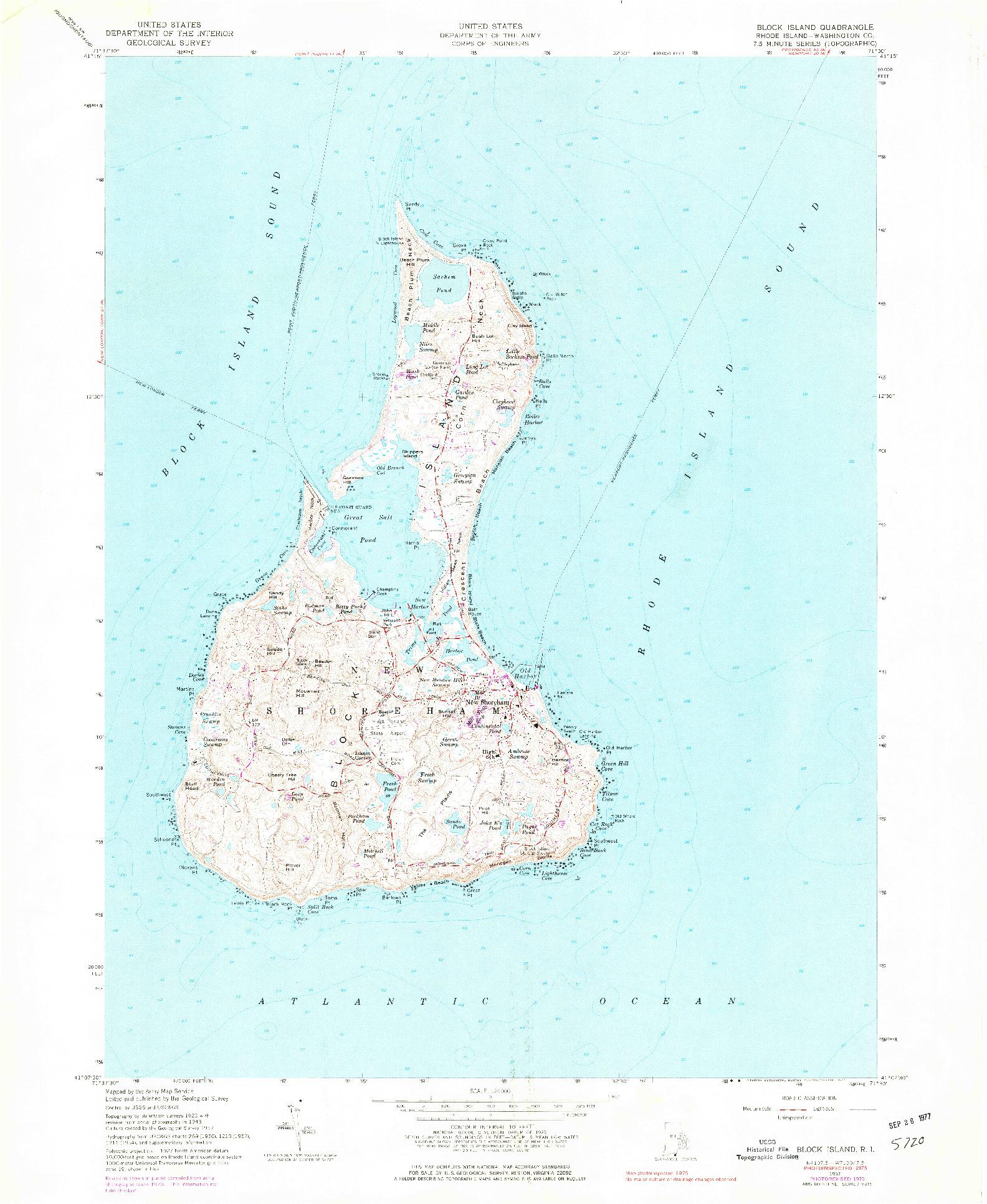 USGS 1:24000-SCALE QUADRANGLE FOR BLOCK ISLAND, RI 1957