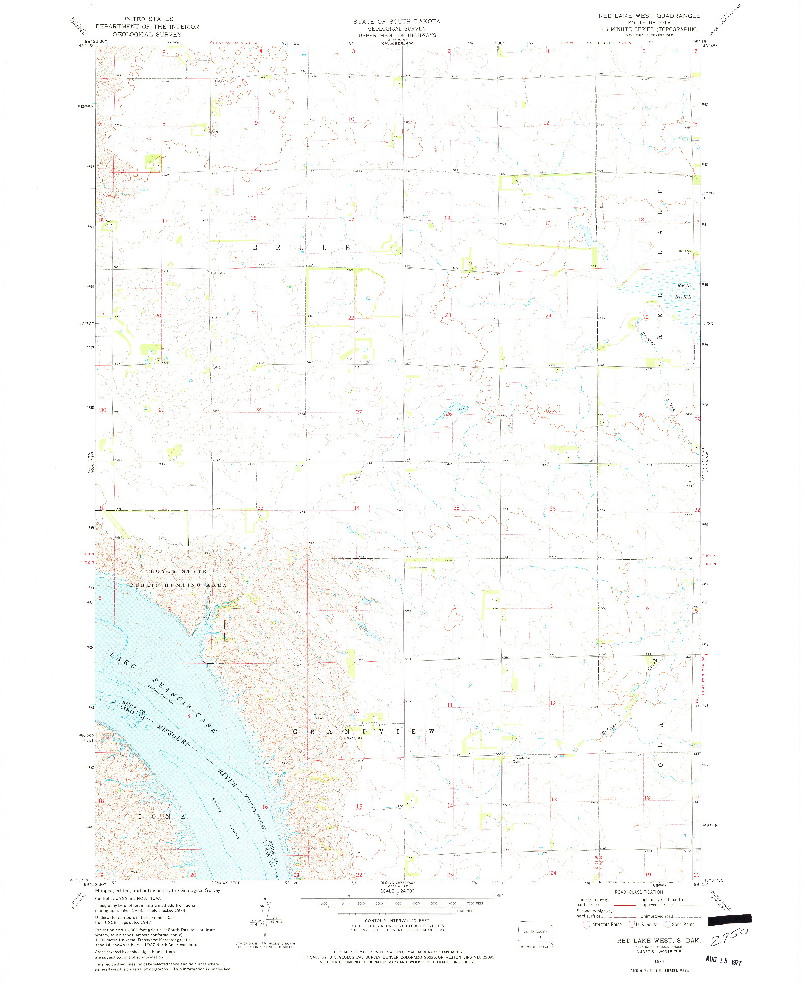 USGS 1:24000-SCALE QUADRANGLE FOR RED LAKE WEST, SD 1974