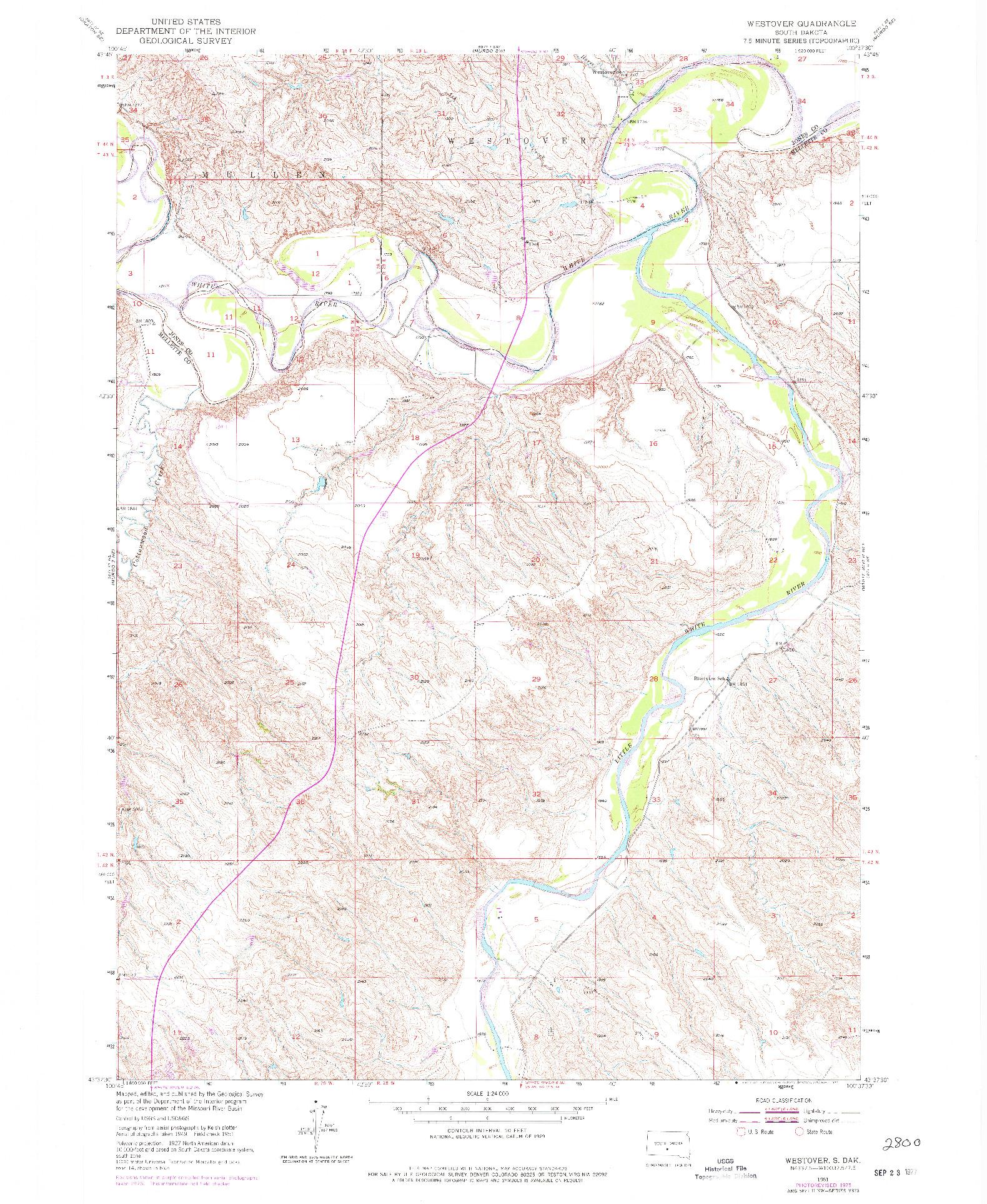 USGS 1:24000-SCALE QUADRANGLE FOR WESTOVER, SD 1951