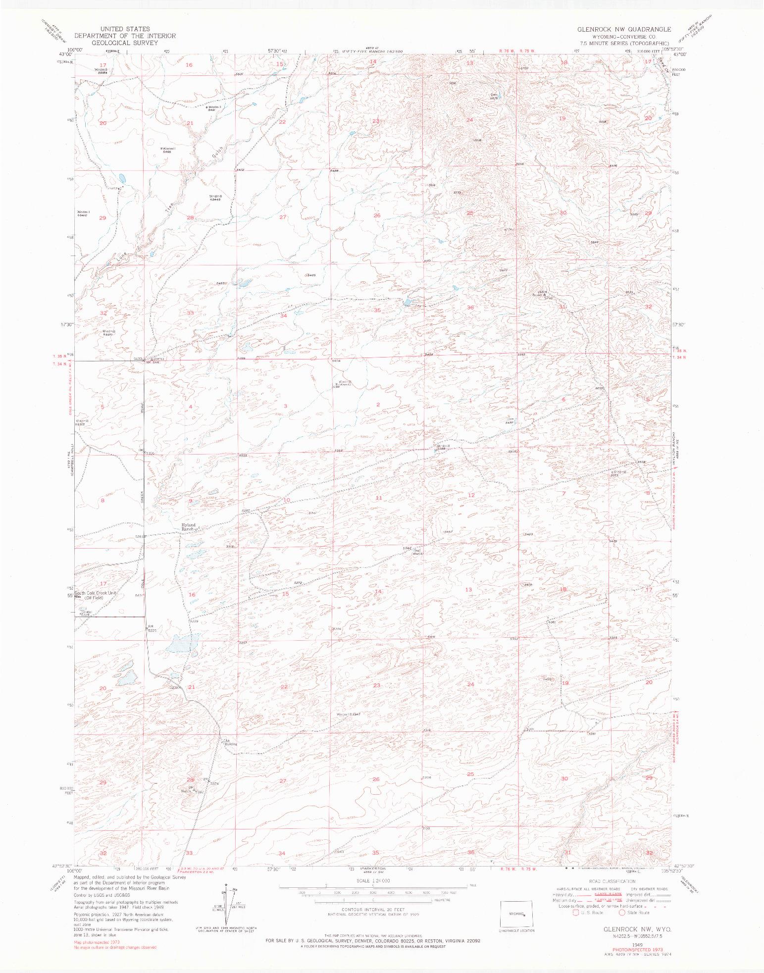USGS 1:24000-SCALE QUADRANGLE FOR GLENROCK NW, WY 1949