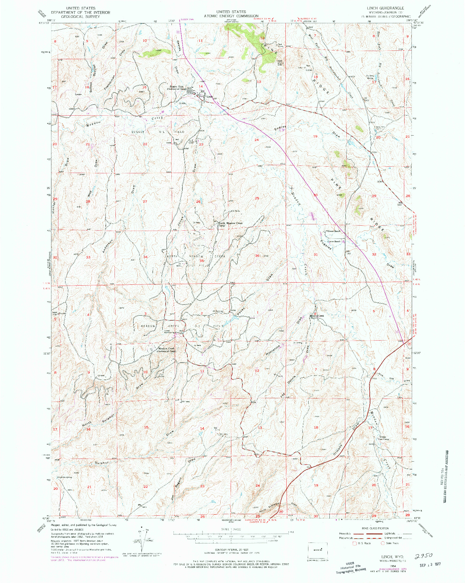 USGS 1:24000-SCALE QUADRANGLE FOR LINCH, WY 1954