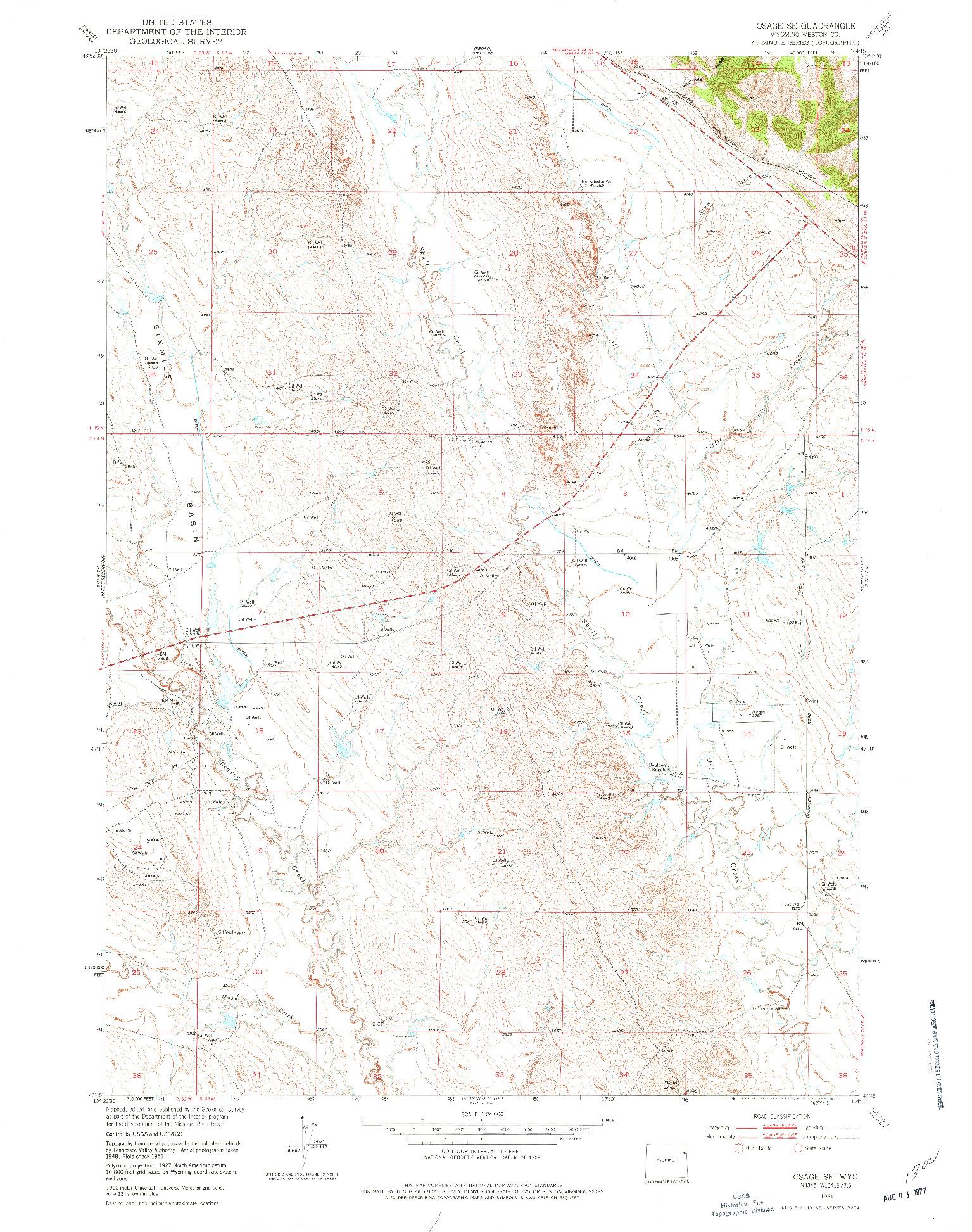 USGS 1:24000-SCALE QUADRANGLE FOR OSAGE SE, WY 1951
