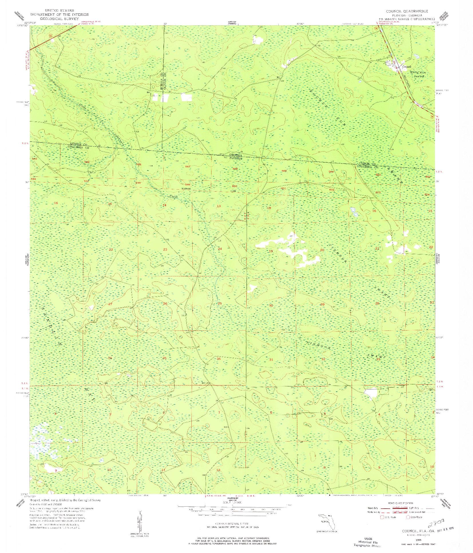 USGS 1:24000-SCALE QUADRANGLE FOR COUNCIL, FL 1955