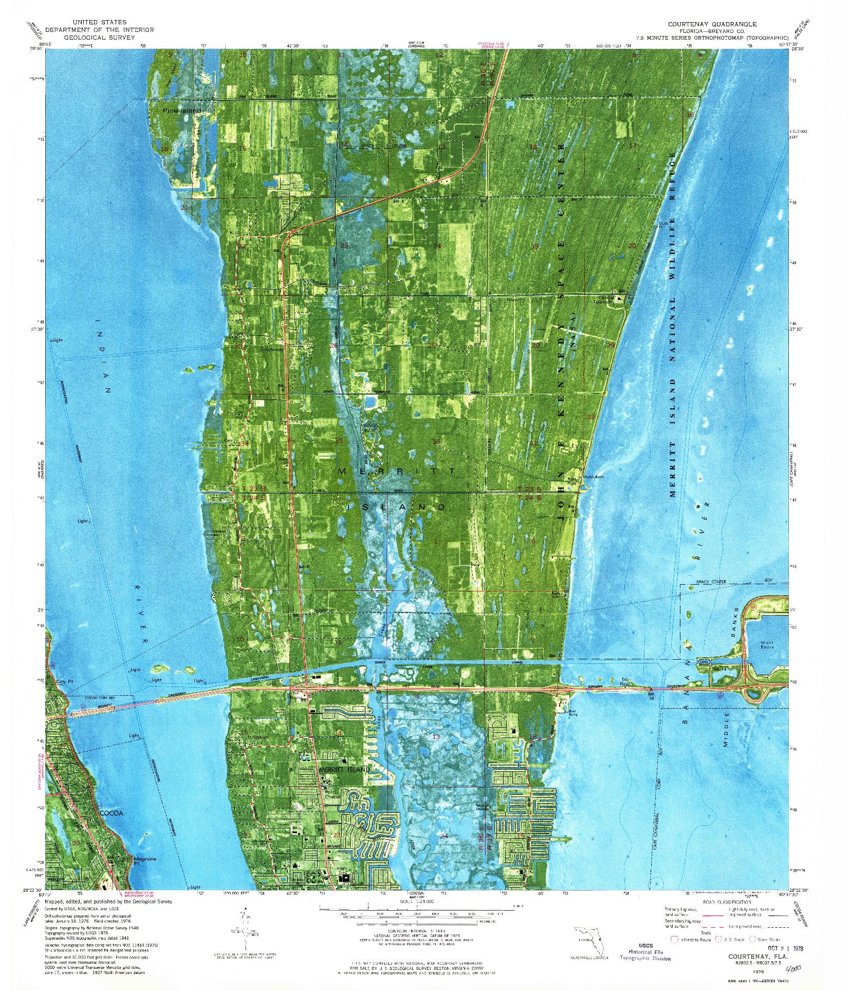 USGS 1:24000-SCALE QUADRANGLE FOR COURTENAY, FL 1976