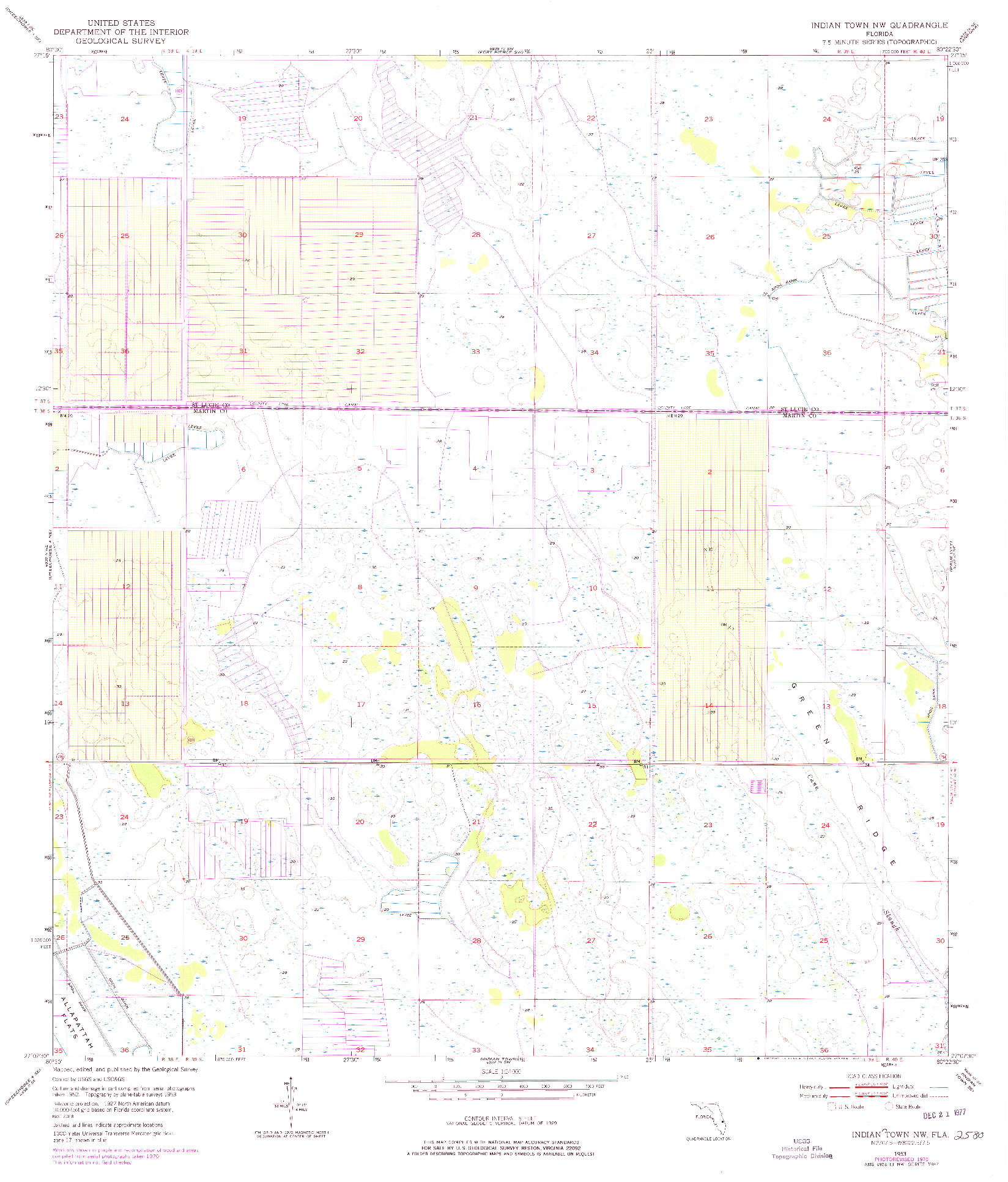 USGS 1:24000-SCALE QUADRANGLE FOR INDIANTOWN NW, FL 1953