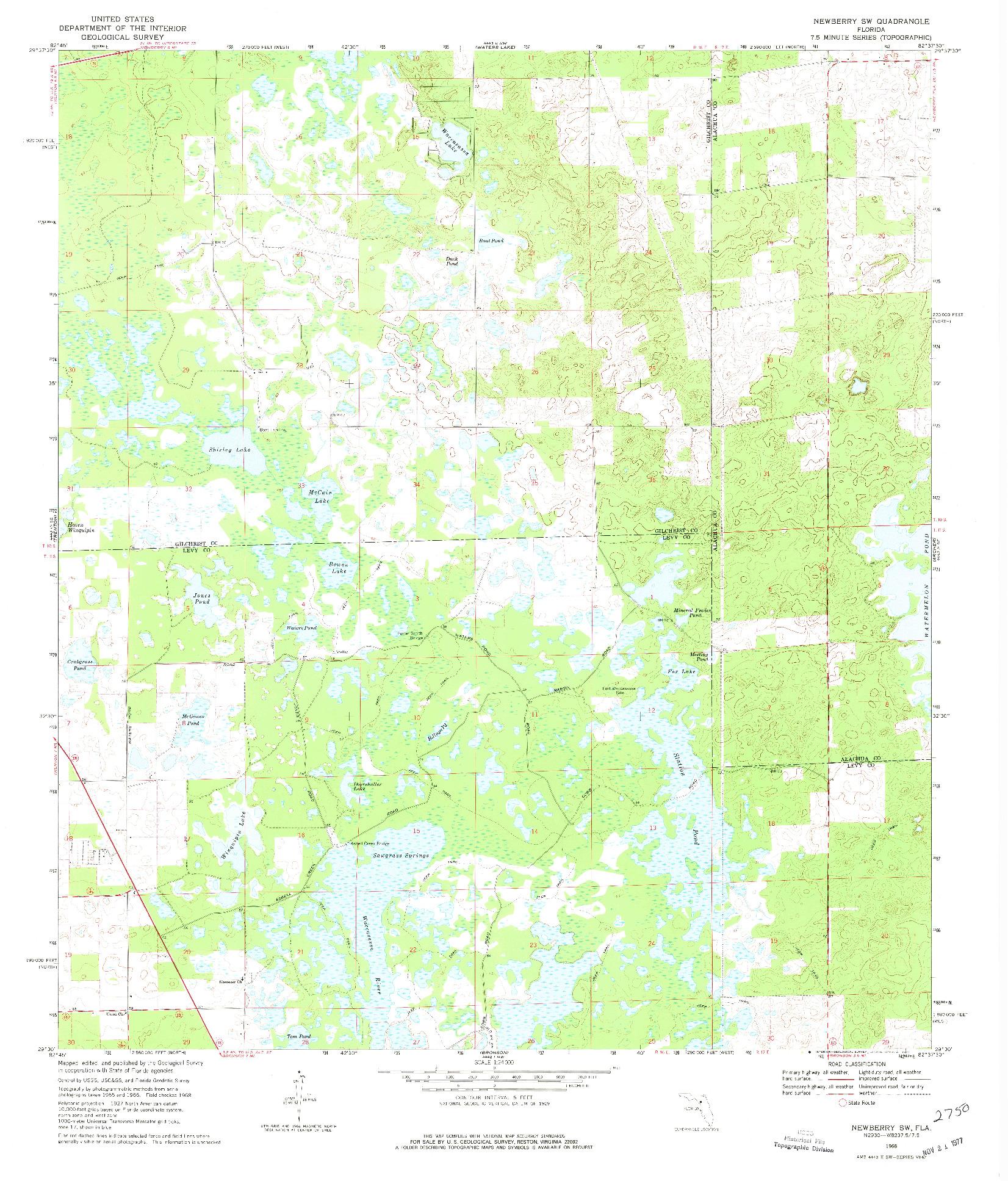 USGS 1:24000-SCALE QUADRANGLE FOR NEWBERRY SW, FL 1968