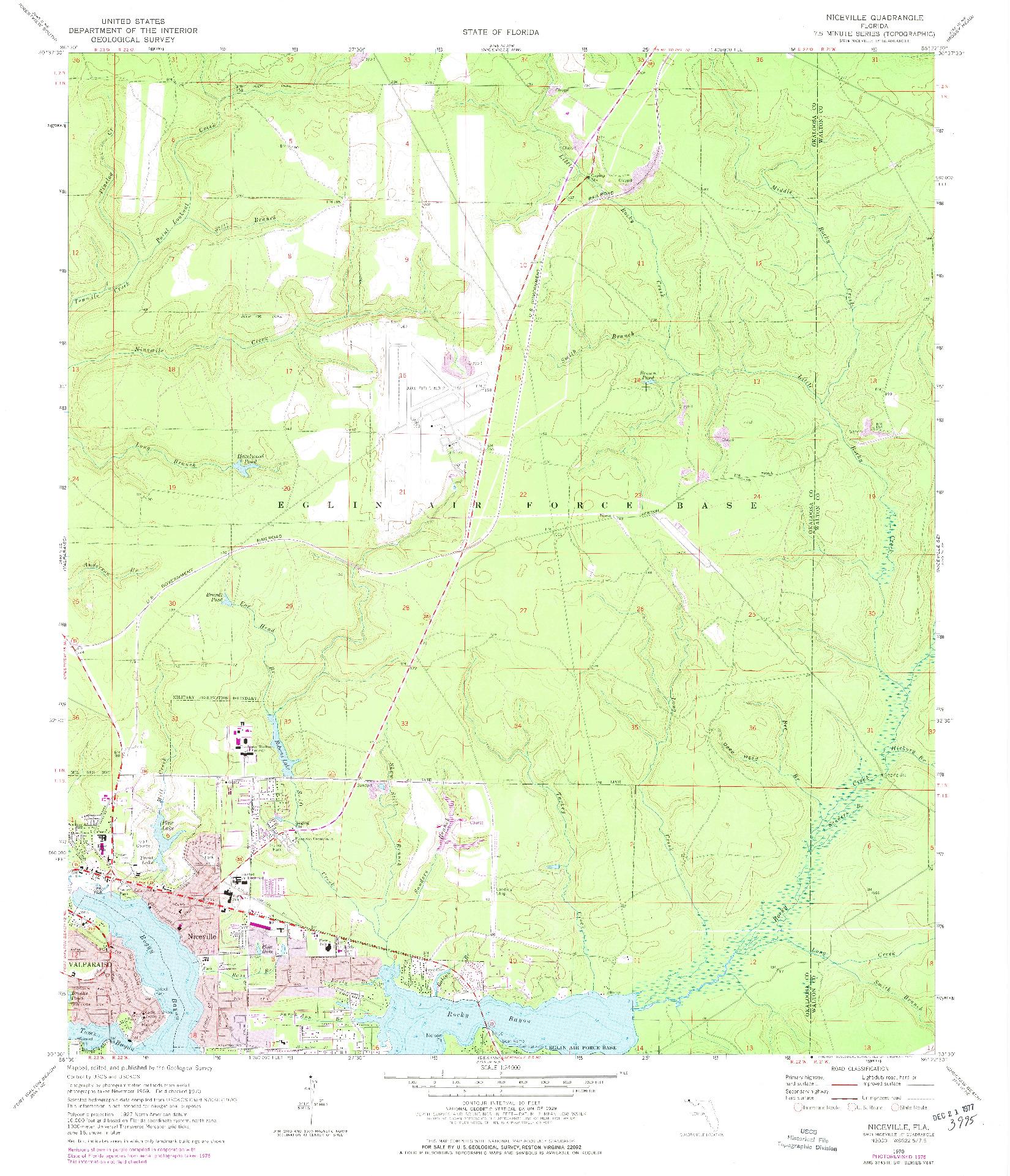 USGS 1:24000-SCALE QUADRANGLE FOR NICEVILLE, FL 1970