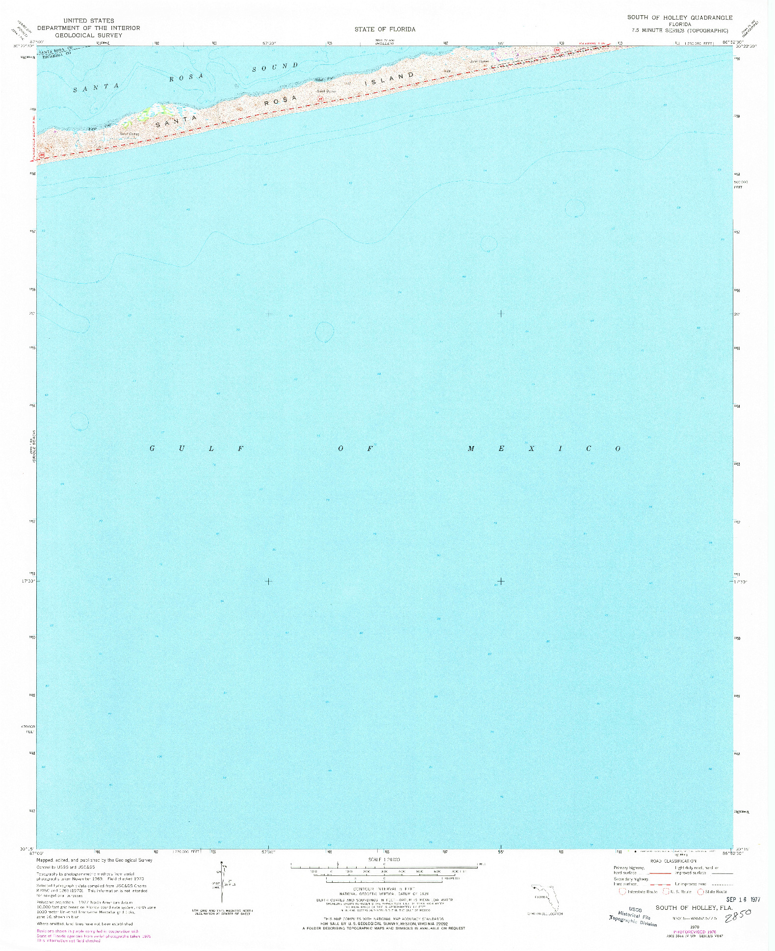 USGS 1:24000-SCALE QUADRANGLE FOR SOUTH OF HOLLEY, FL 1970
