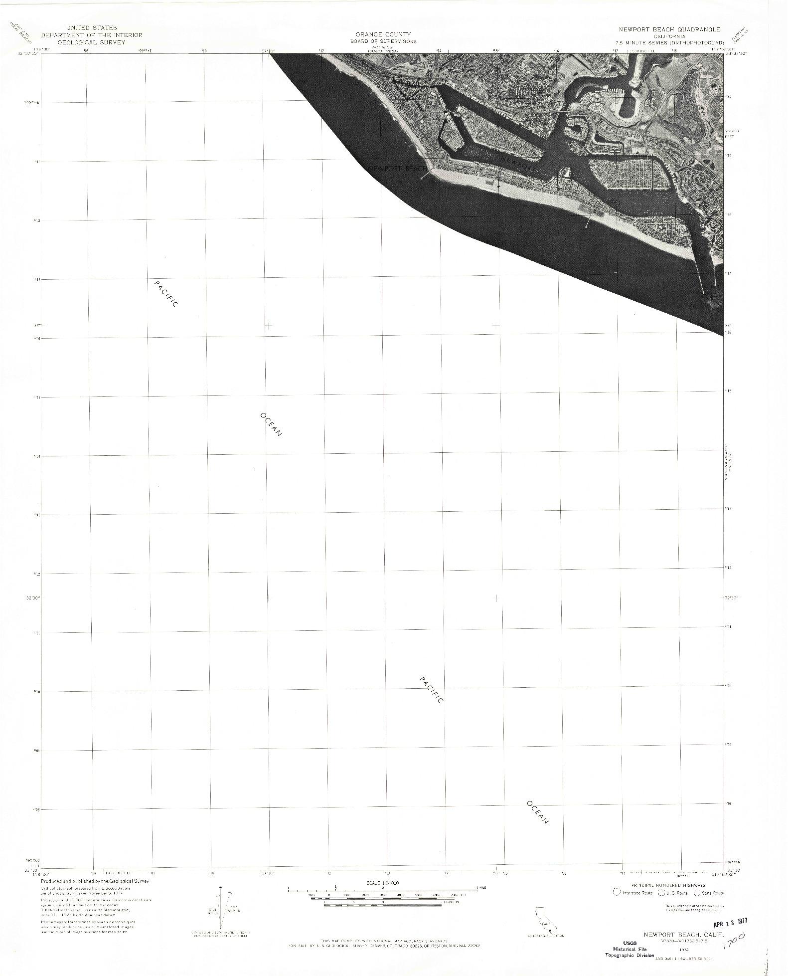 USGS 1:24000-SCALE QUADRANGLE FOR NEWPORT BEACH, CA 1974