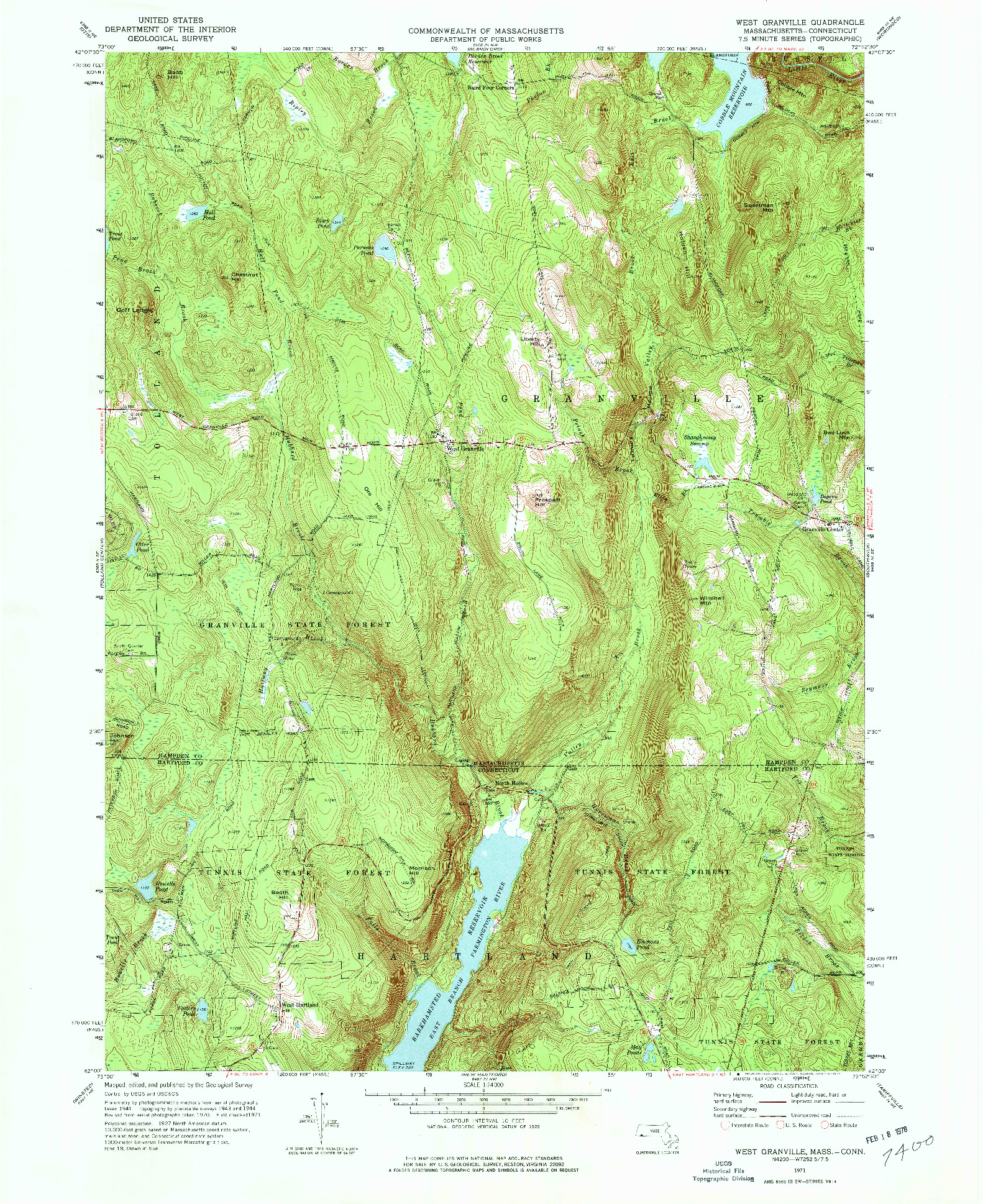 USGS 1:24000-SCALE QUADRANGLE FOR WEST GRANVILLE, MA 1971