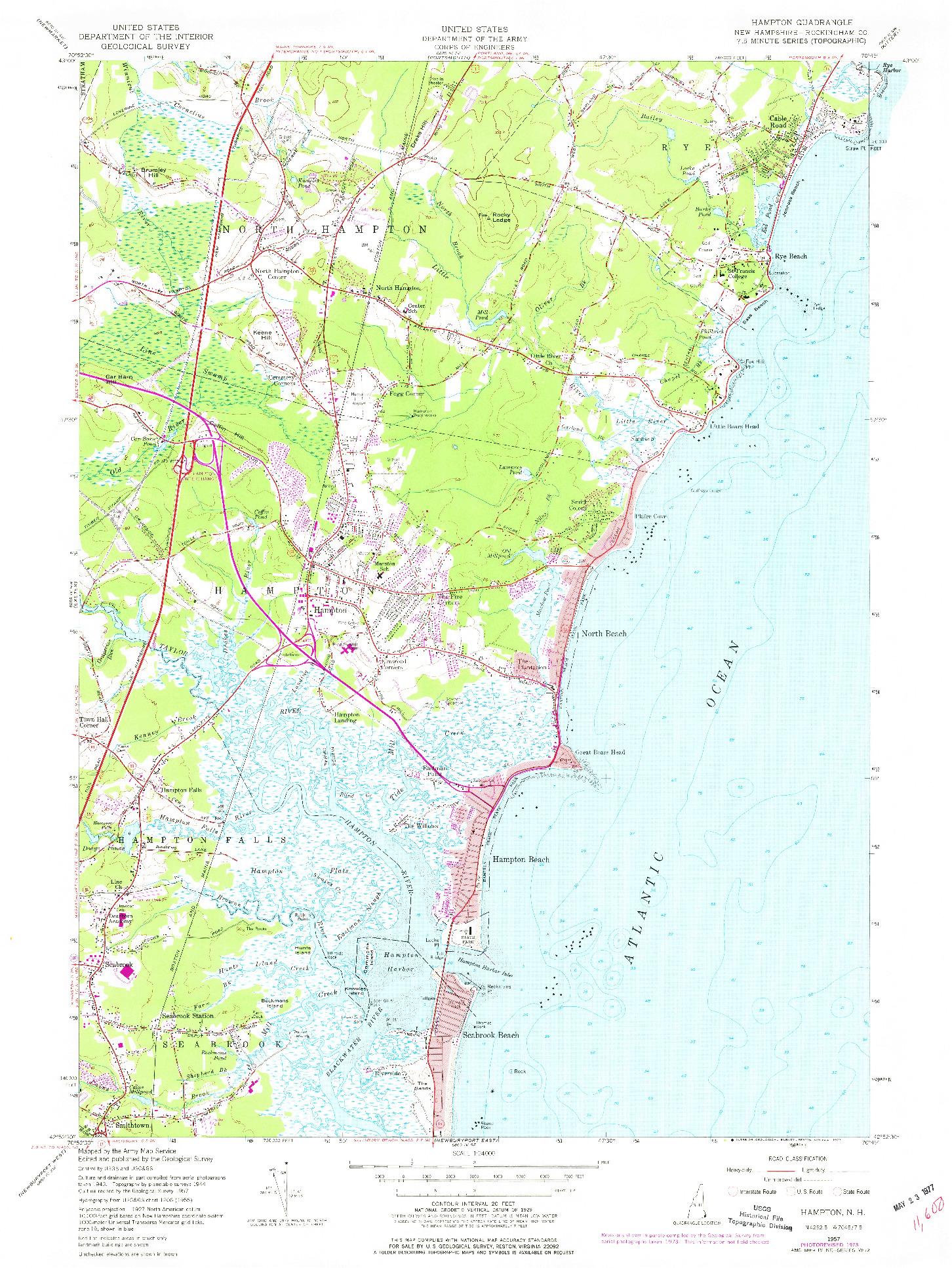 USGS 1:24000-SCALE QUADRANGLE FOR HAMPTON, NH 1957