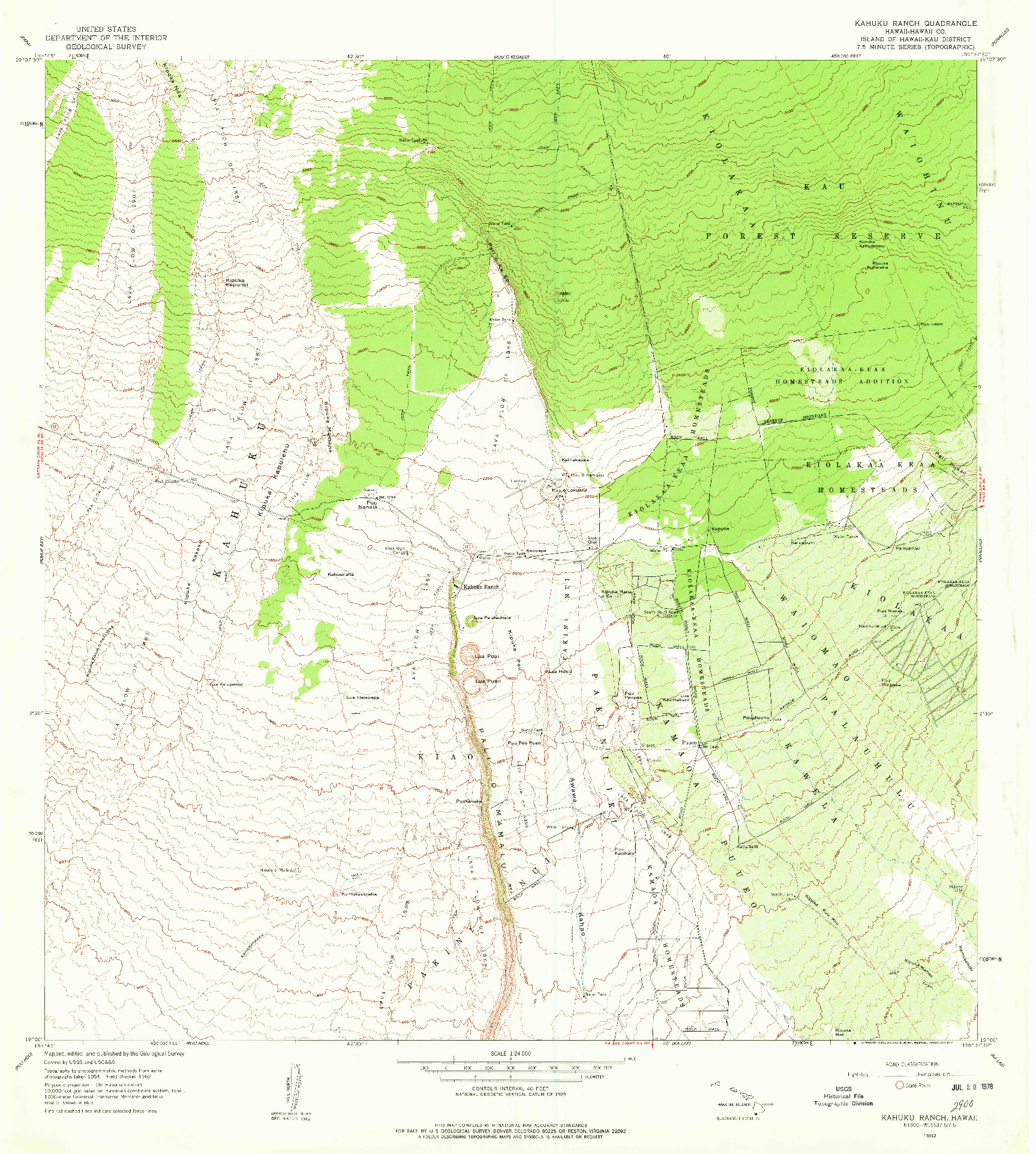 USGS 1:24000-SCALE QUADRANGLE FOR KAHUKU RANCH, HI 1962