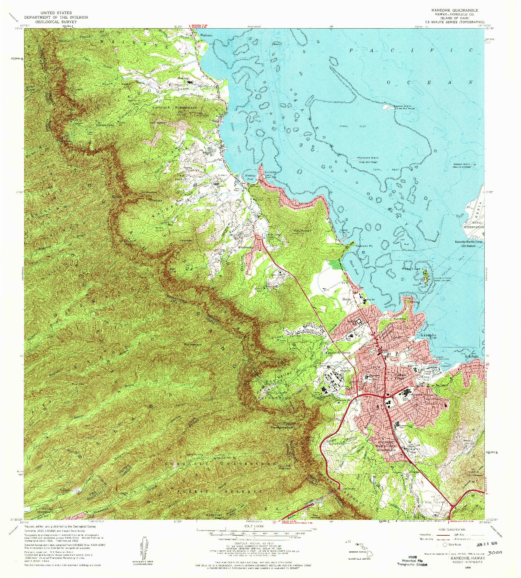 USGS 1:24000-SCALE QUADRANGLE FOR KANEOHE, HI 1968