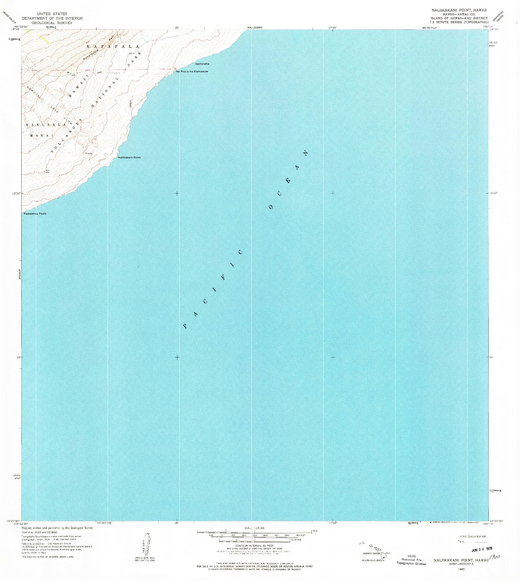 USGS 1:24000-SCALE QUADRANGLE FOR NALIIKAKANI POINT, HI 1963