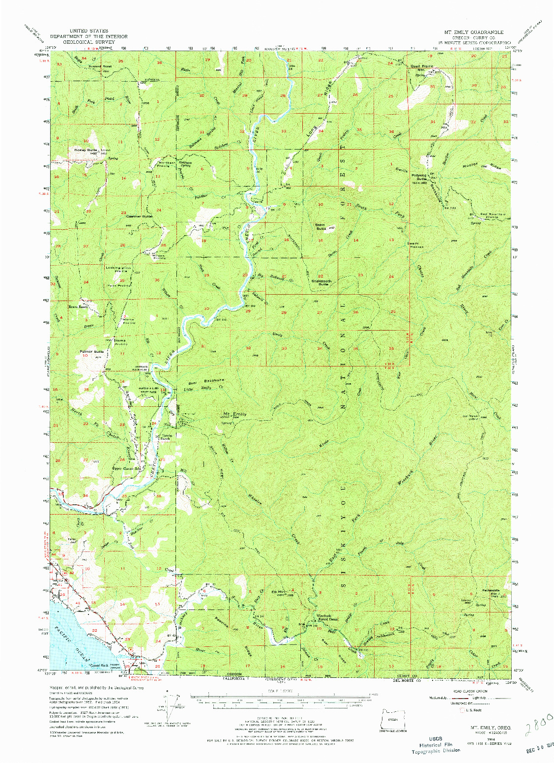 USGS 1:62500-SCALE QUADRANGLE FOR MT. EMILY, OR 1954