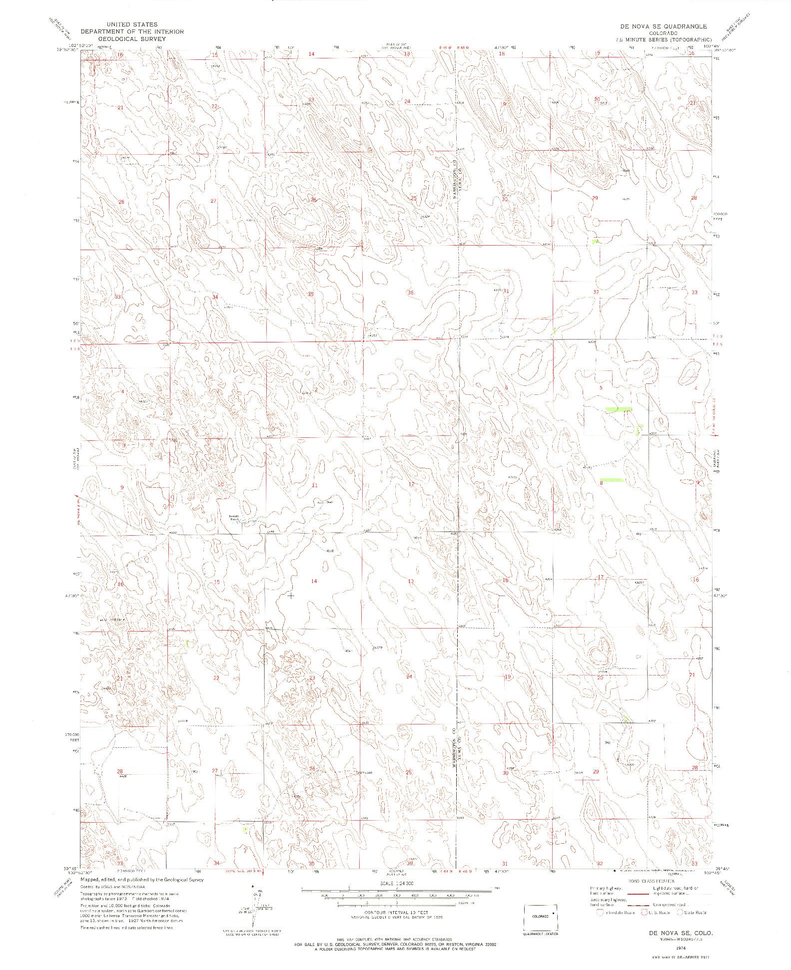 USGS 1:24000-SCALE QUADRANGLE FOR DE NOVA SE, CO 1974
