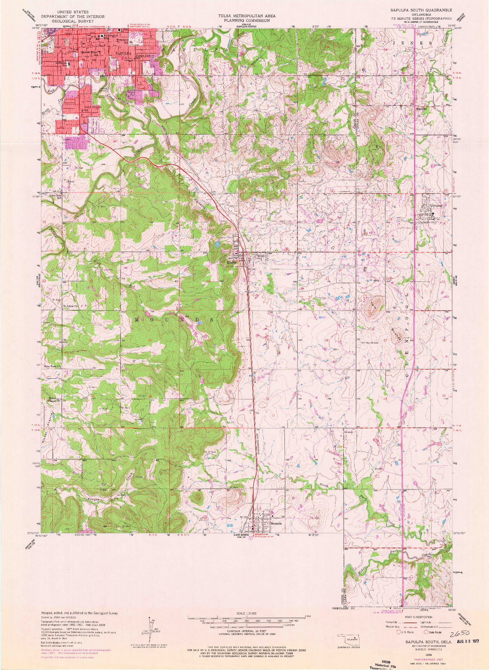USGS 1:24000-SCALE QUADRANGLE FOR SAPULPA SOUTH, OK 1958