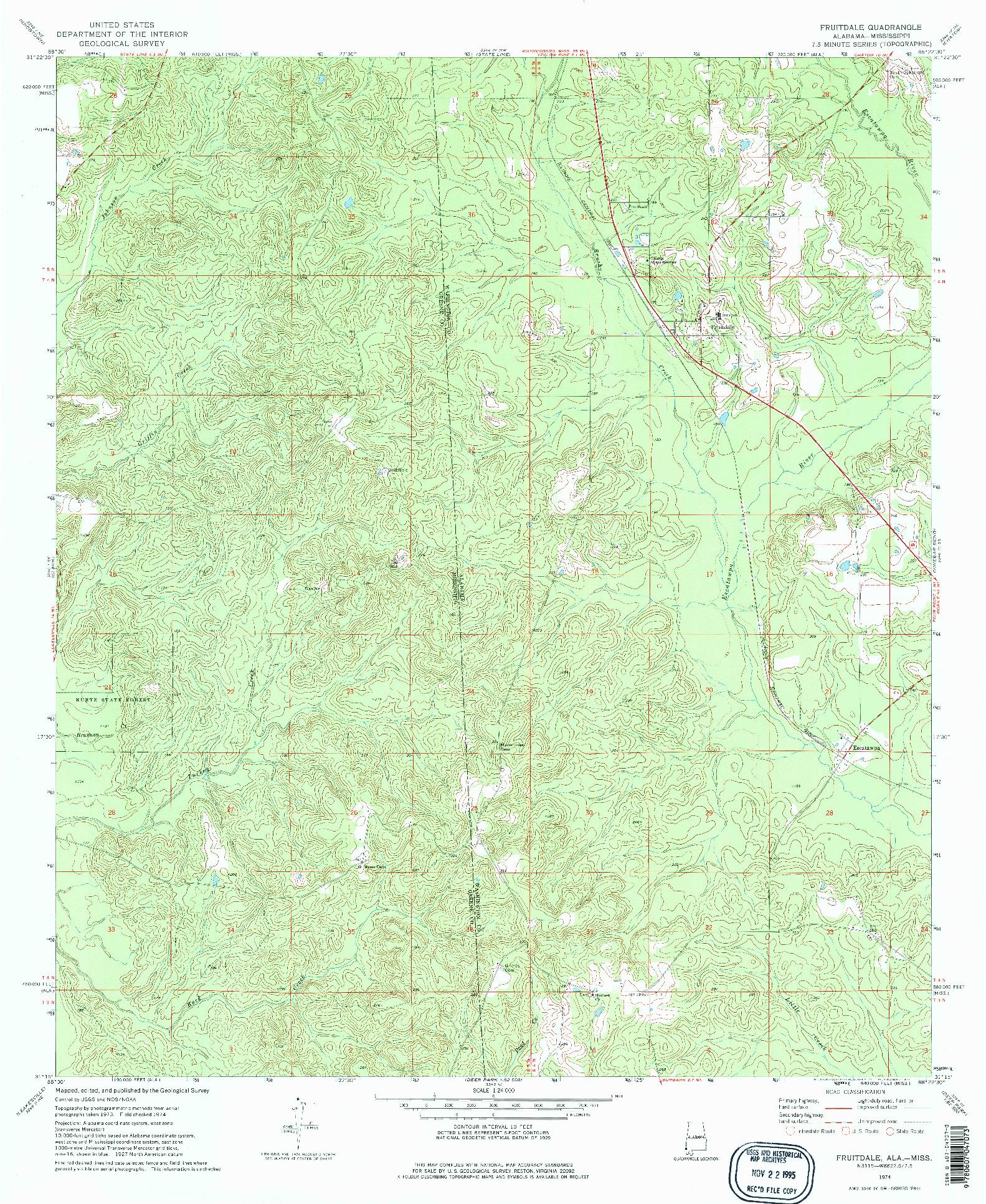 USGS 1:24000-SCALE QUADRANGLE FOR FRUITDALE, AL 1974