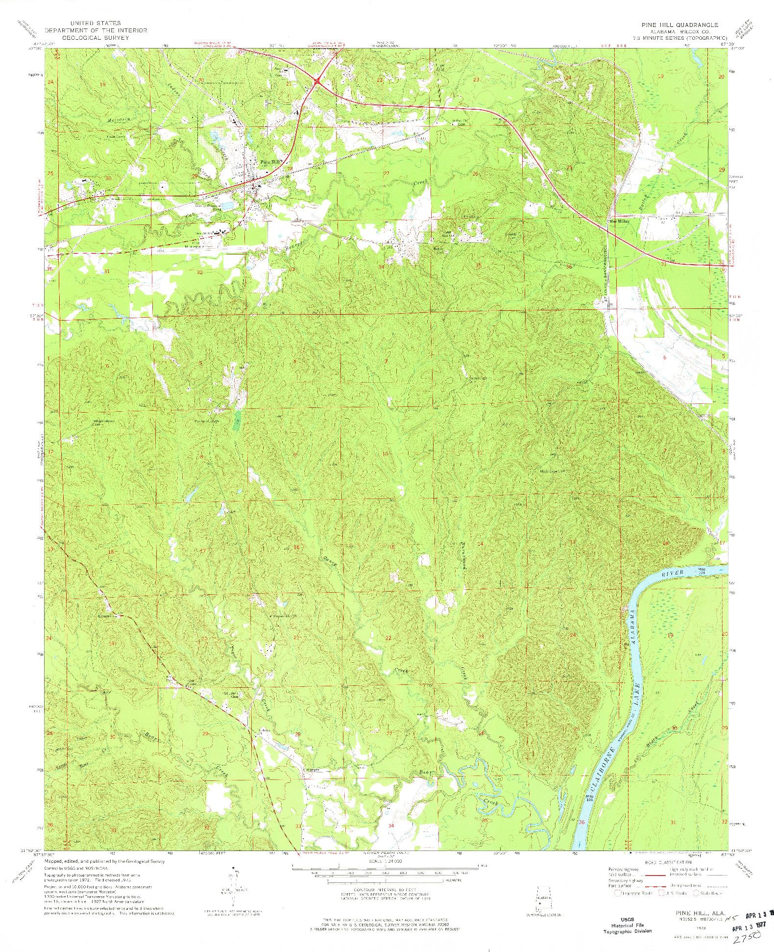 USGS 1:24000-SCALE QUADRANGLE FOR PINE HILL, AL 1973