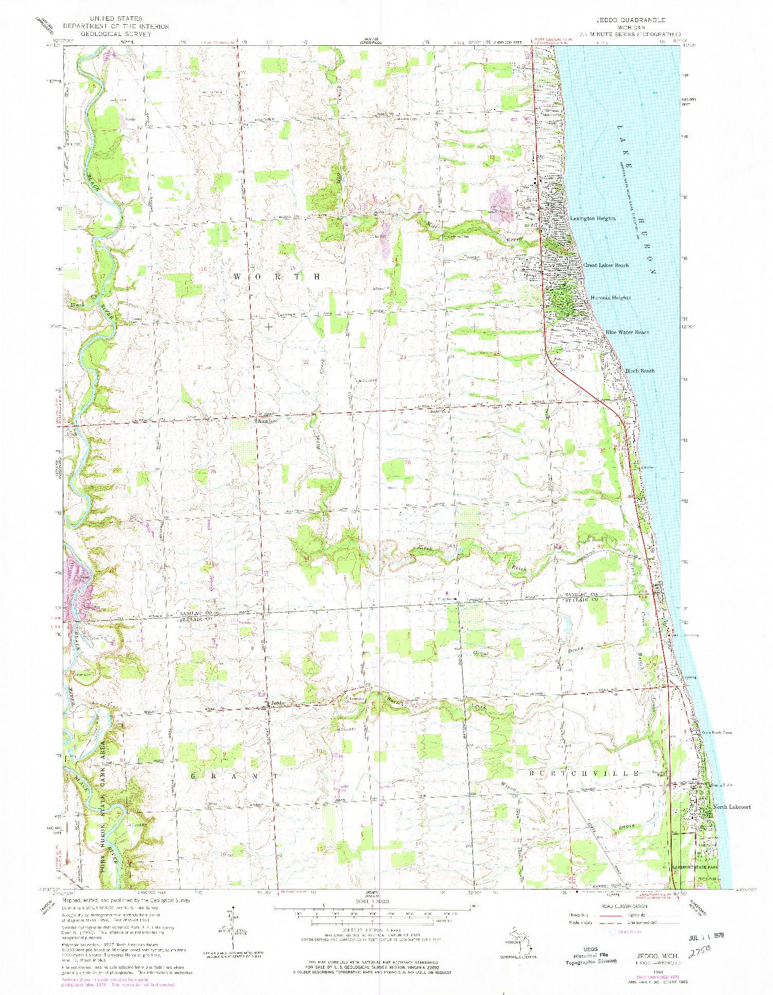USGS 1:24000-SCALE QUADRANGLE FOR JEDDO, MI 1961