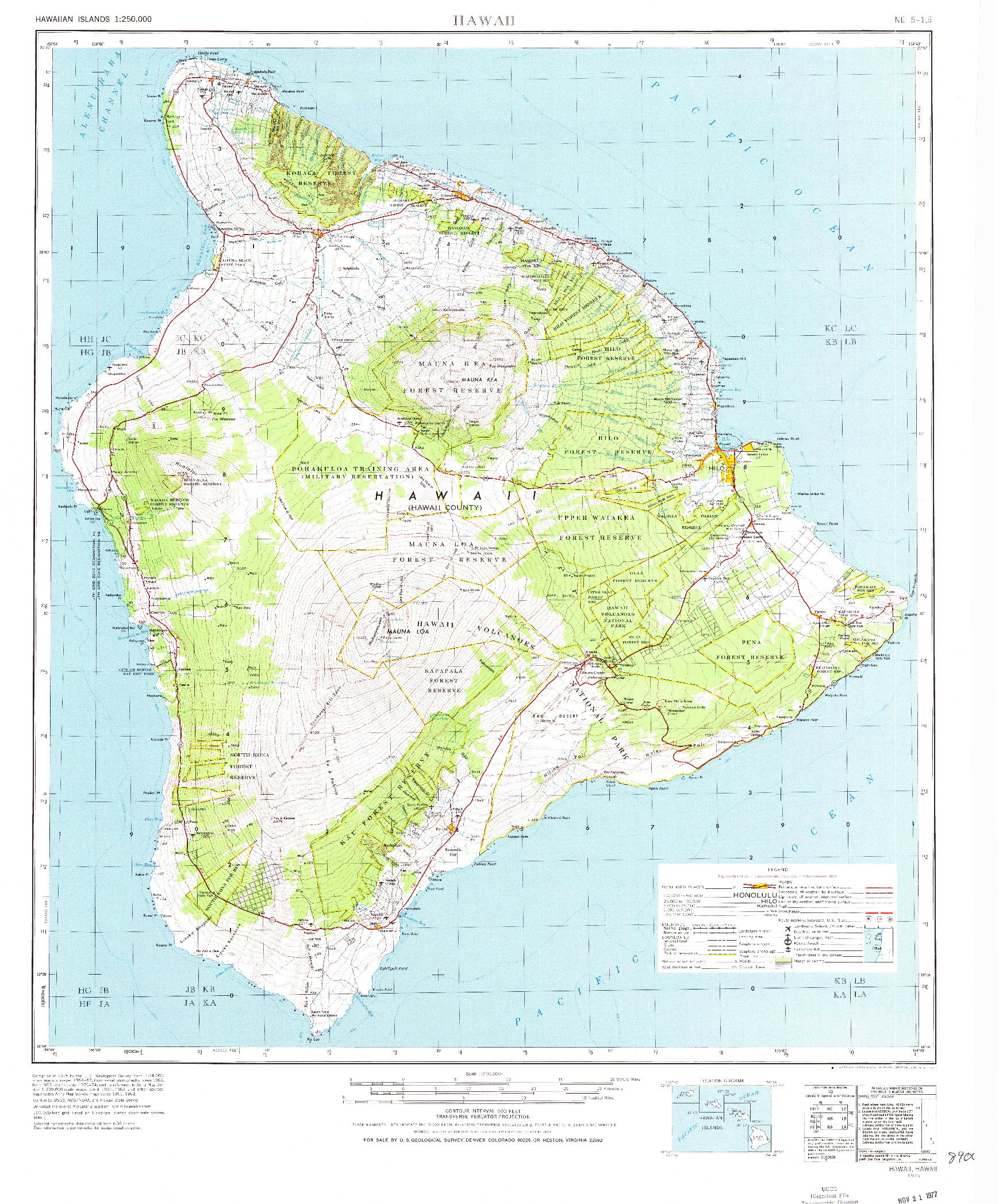 USGS 1:250000-SCALE QUADRANGLE FOR HAWAII, HI 1975