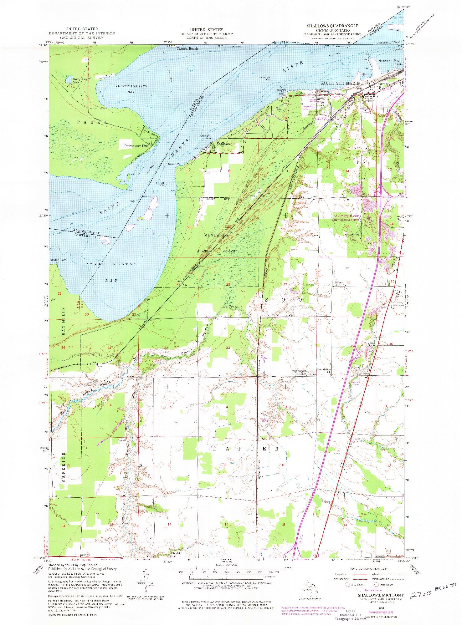 USGS 1:24000-SCALE QUADRANGLE FOR SHALLOWS, MI 1951