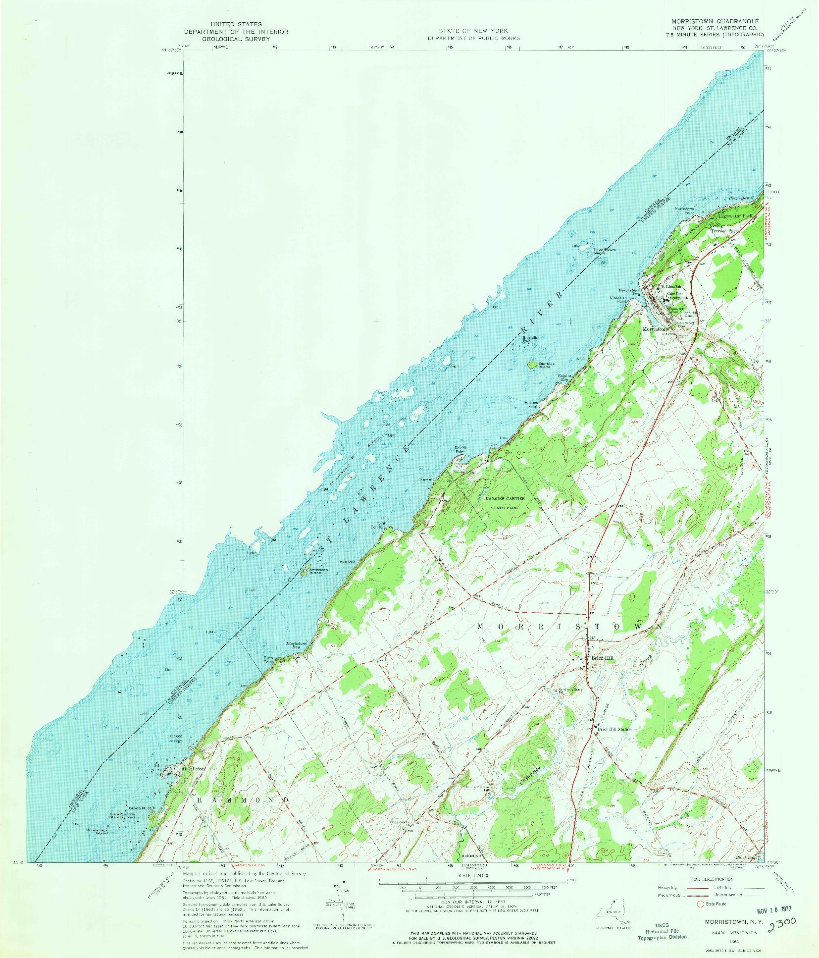 USGS 1:24000-SCALE QUADRANGLE FOR MORRISTOWN, NY 1963
