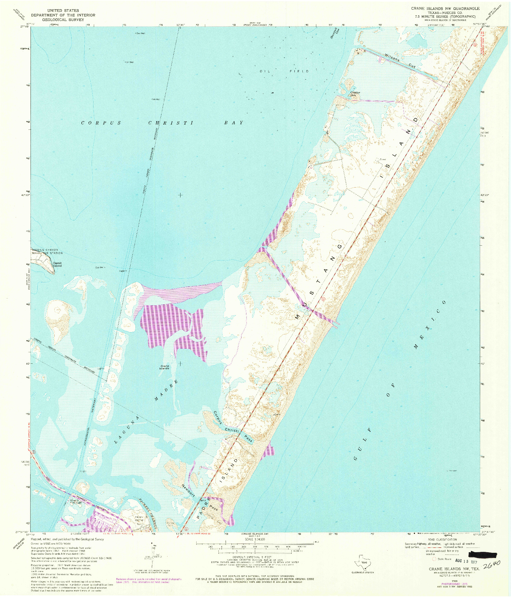 USGS 1:24000-SCALE QUADRANGLE FOR CRANE ISLANDS NW, TX 1968