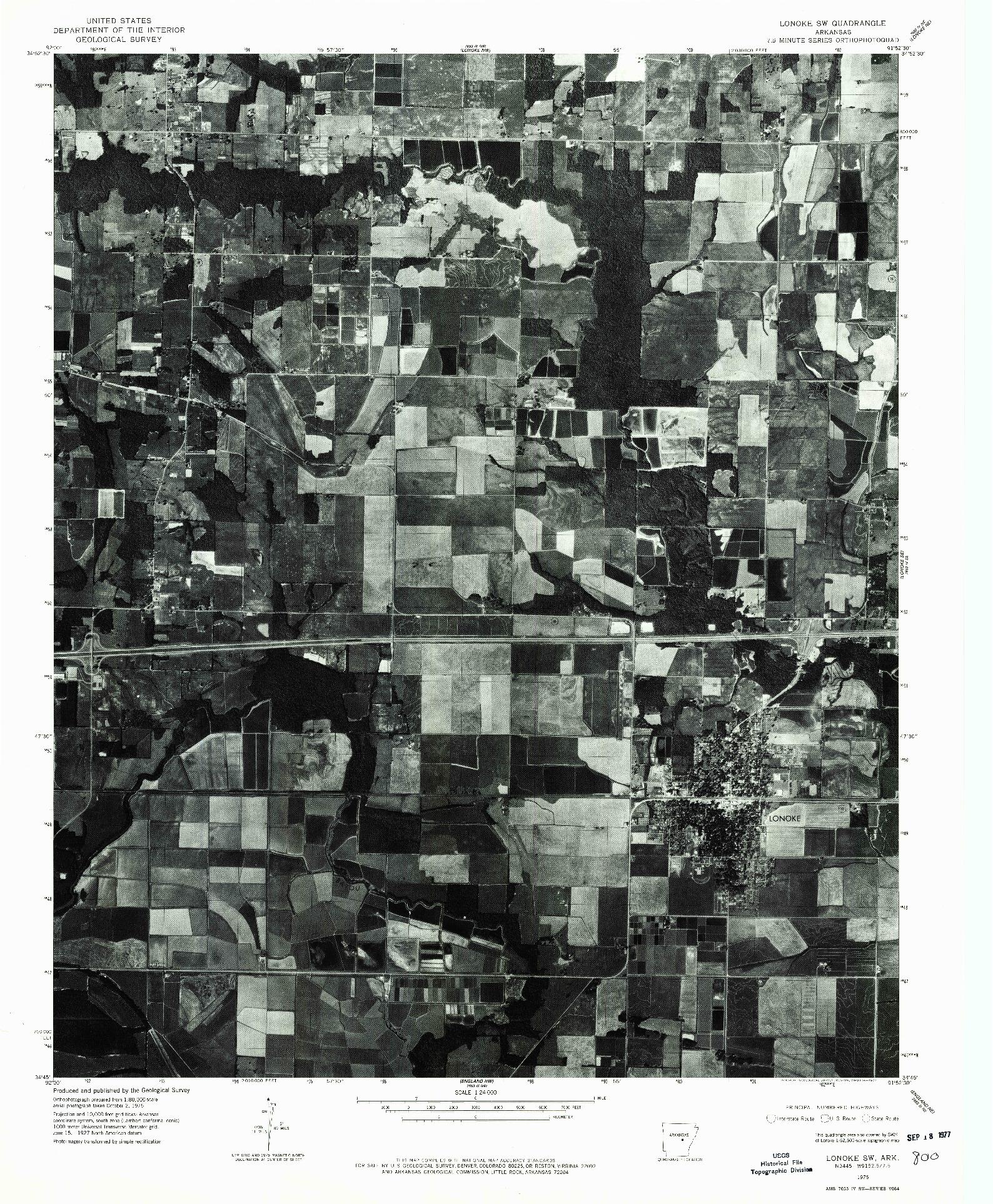USGS 1:24000-SCALE QUADRANGLE FOR LONOKE SW, AR 1975