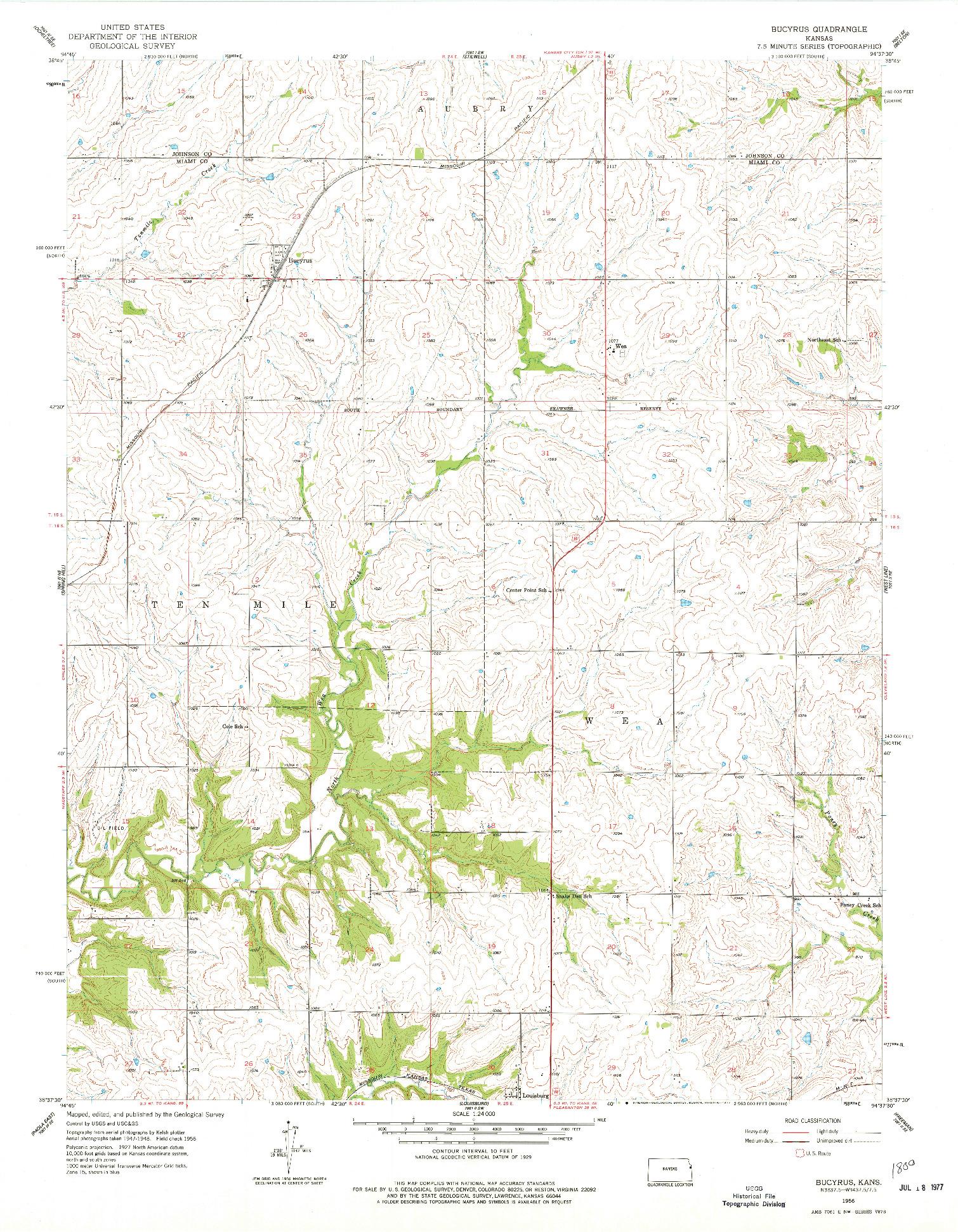 USGS 1:24000-SCALE QUADRANGLE FOR BUCYRUS, KS 1956
