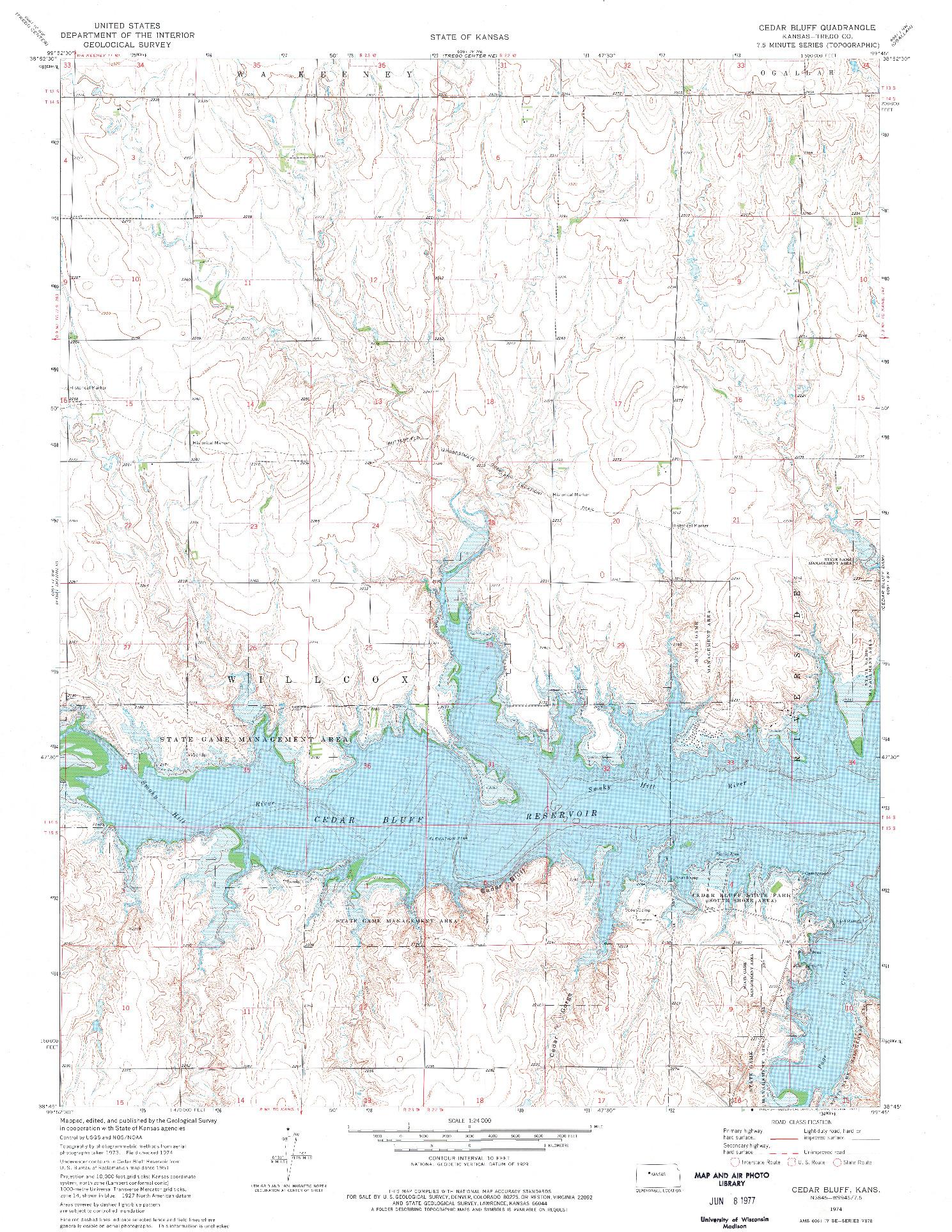USGS 1:24000-SCALE QUADRANGLE FOR CEDAR BLUFF, KS 1974