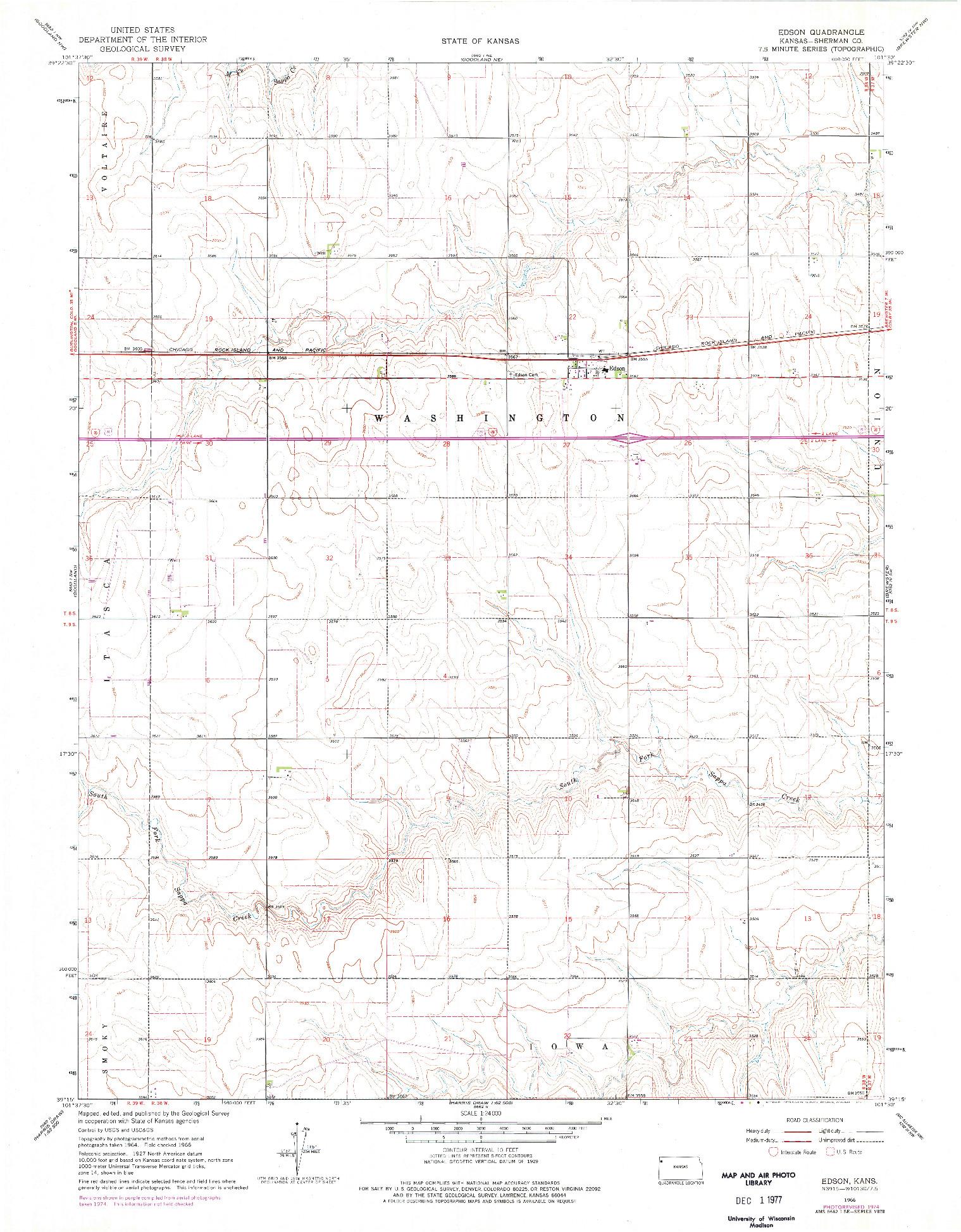 USGS 1:24000-SCALE QUADRANGLE FOR EDSON, KS 1966