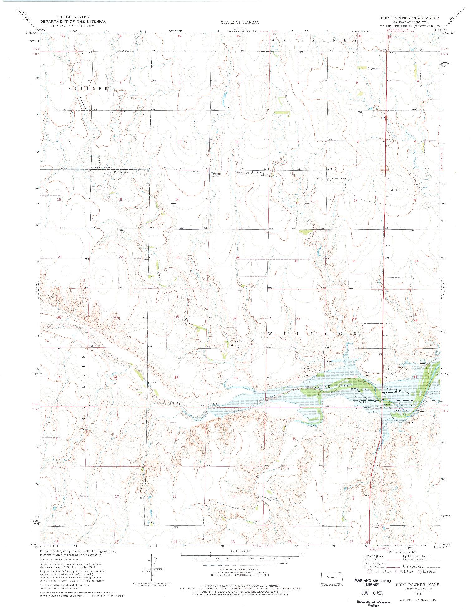 USGS 1:24000-SCALE QUADRANGLE FOR FORT DOWNER, KS 1974