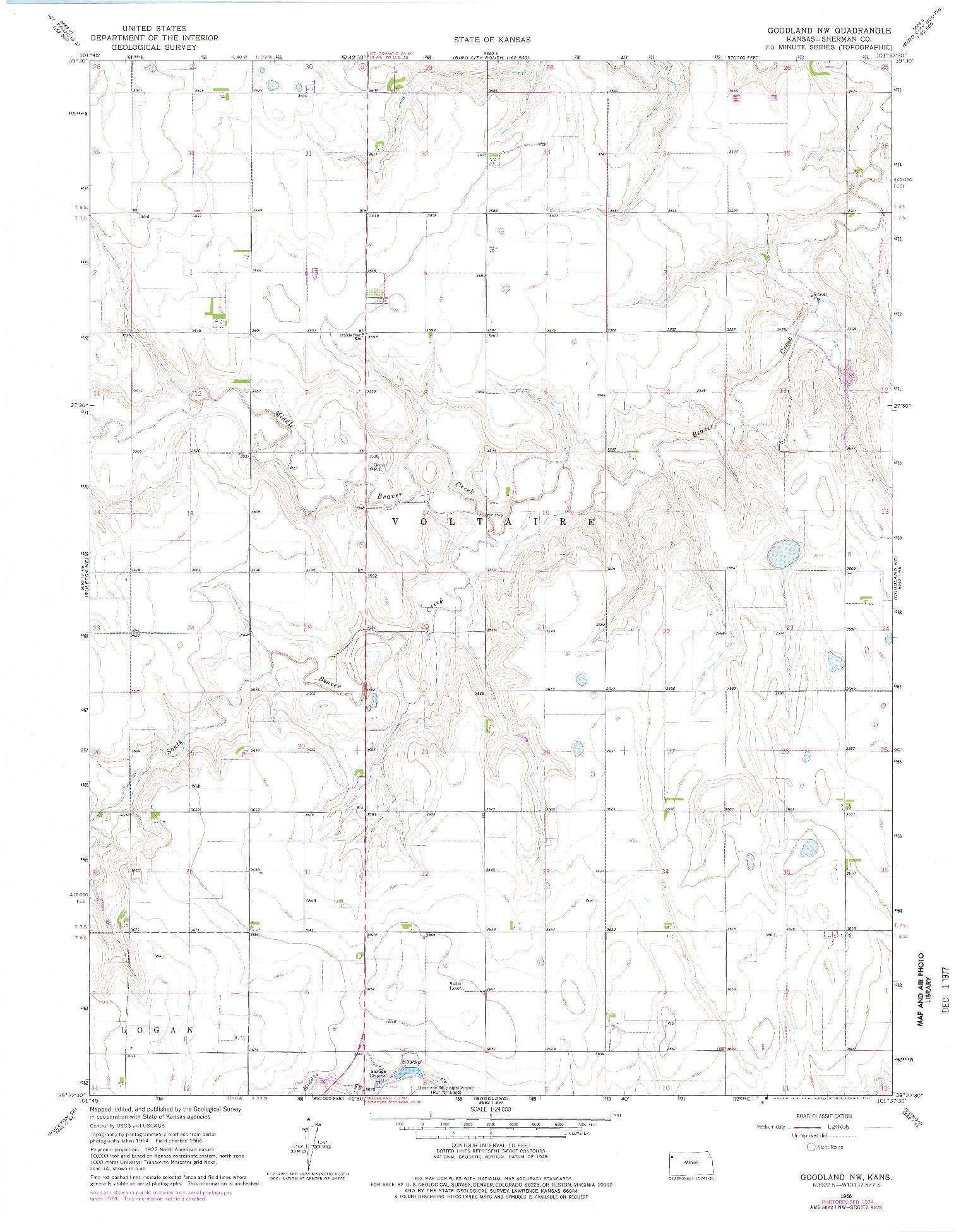 USGS 1:24000-SCALE QUADRANGLE FOR GOODLAND NW, KS 1966
