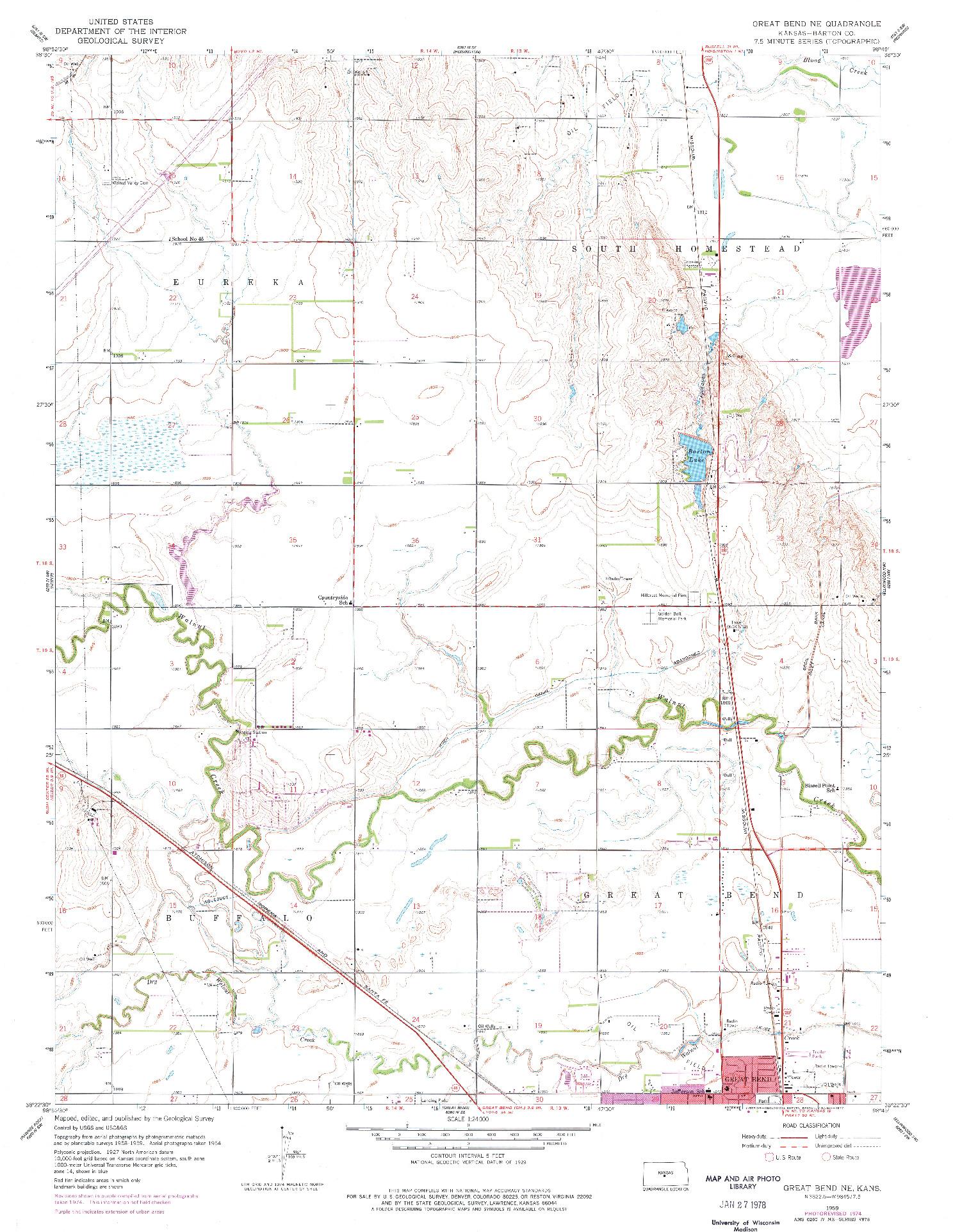 USGS 1:24000-SCALE QUADRANGLE FOR GREAT BEND NE, KS 1959