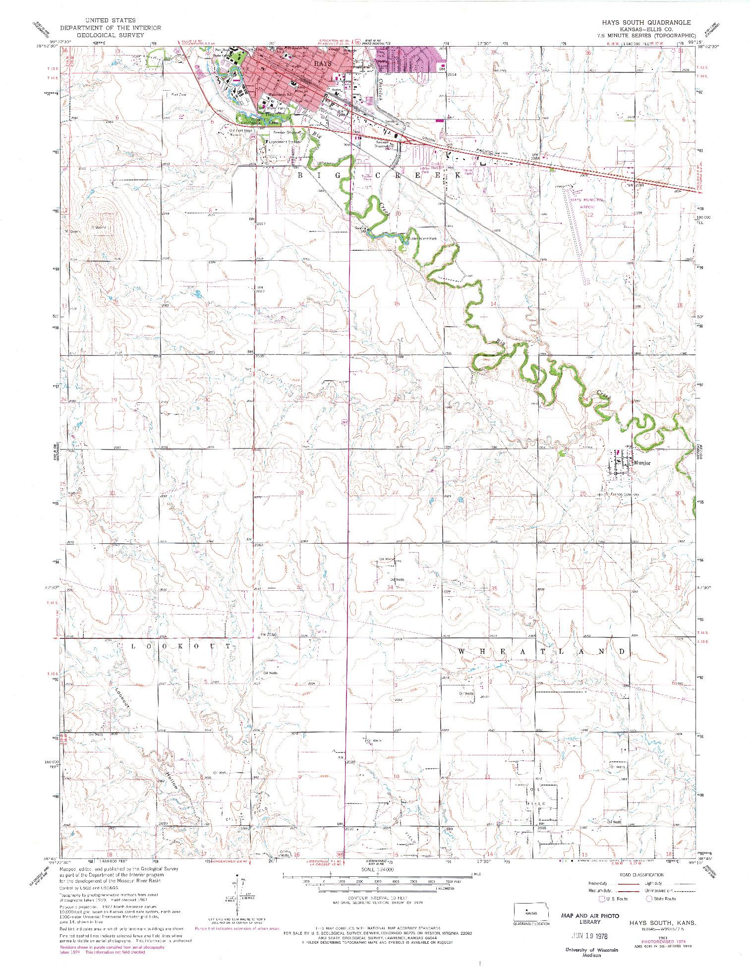 USGS 1:24000-SCALE QUADRANGLE FOR HAYS SOUTH, KS 1961
