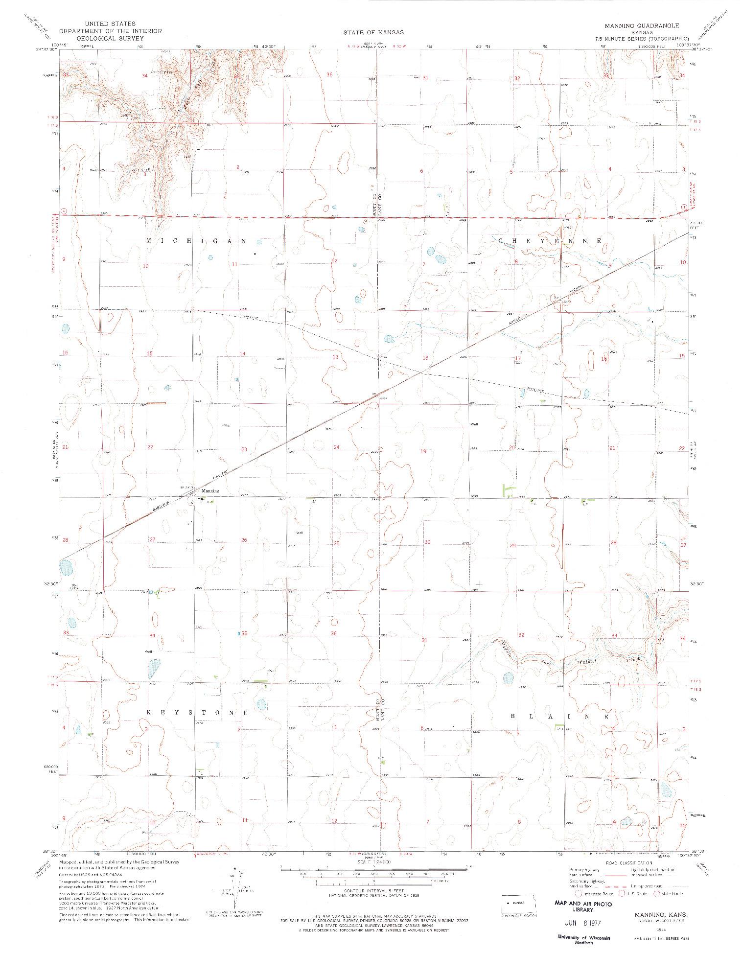 USGS 1:24000-SCALE QUADRANGLE FOR MANNING, KS 1974