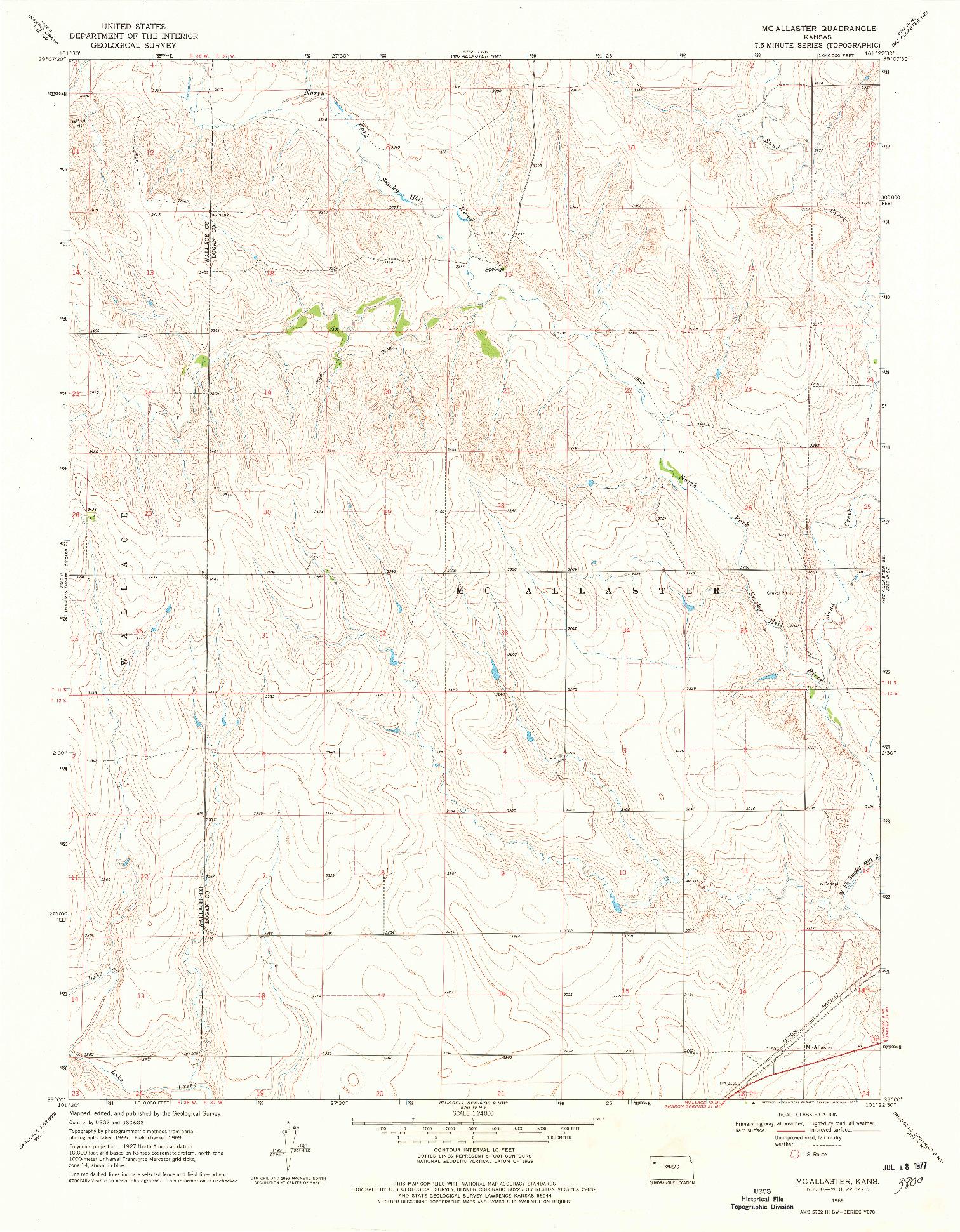 USGS 1:24000-SCALE QUADRANGLE FOR MC ALLASTER, KS 1969