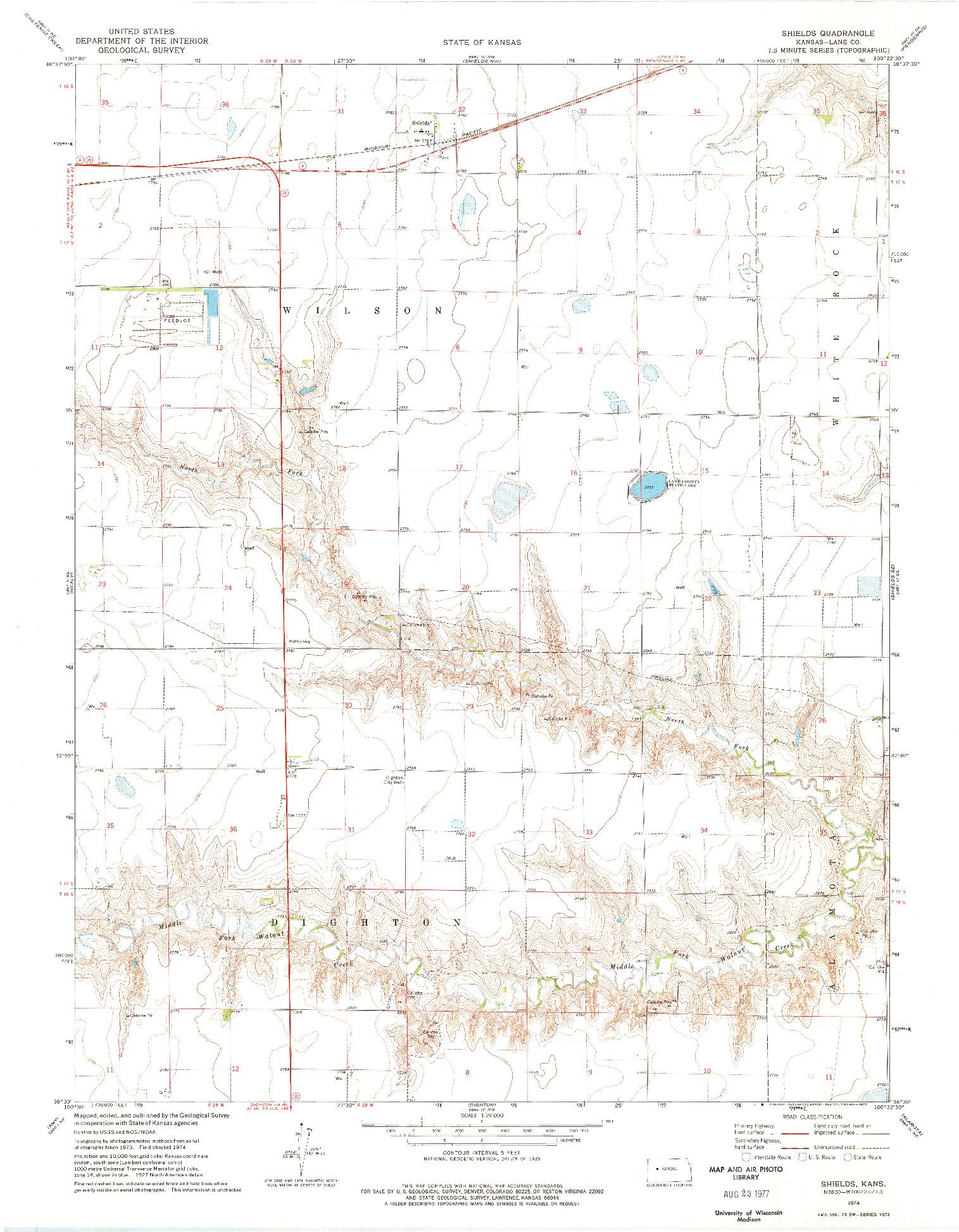 USGS 1:24000-SCALE QUADRANGLE FOR SHIELDS, KS 1974