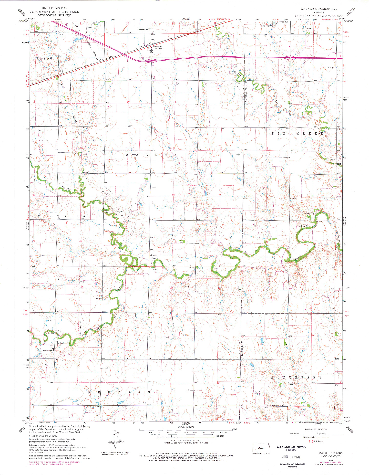USGS 1:24000-SCALE QUADRANGLE FOR WALKER, KS 1961
