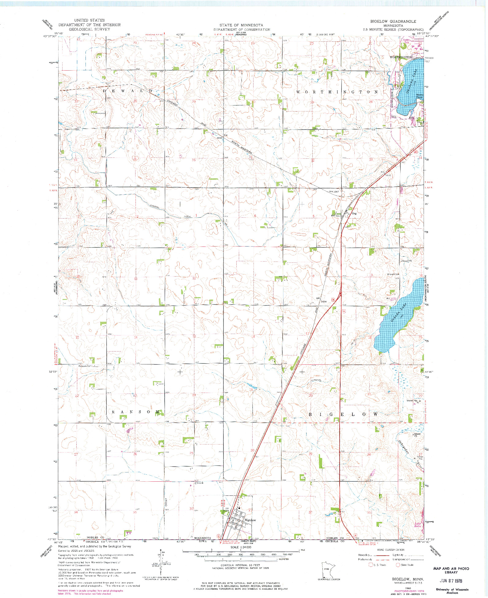 USGS 1:24000-SCALE QUADRANGLE FOR BIGELOW, MN 1960
