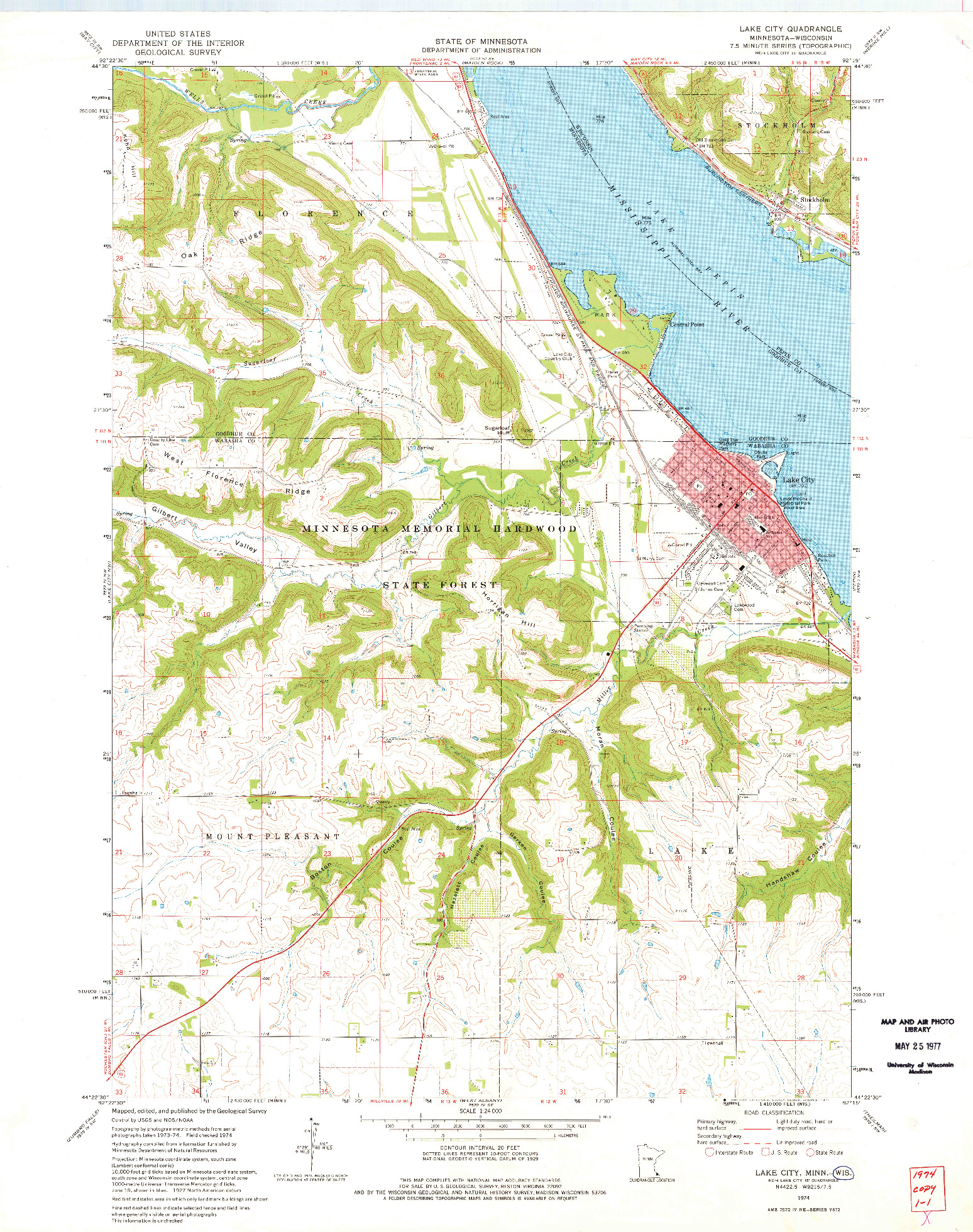 USGS 1:24000-SCALE QUADRANGLE FOR LAKE CITY, MN 1974