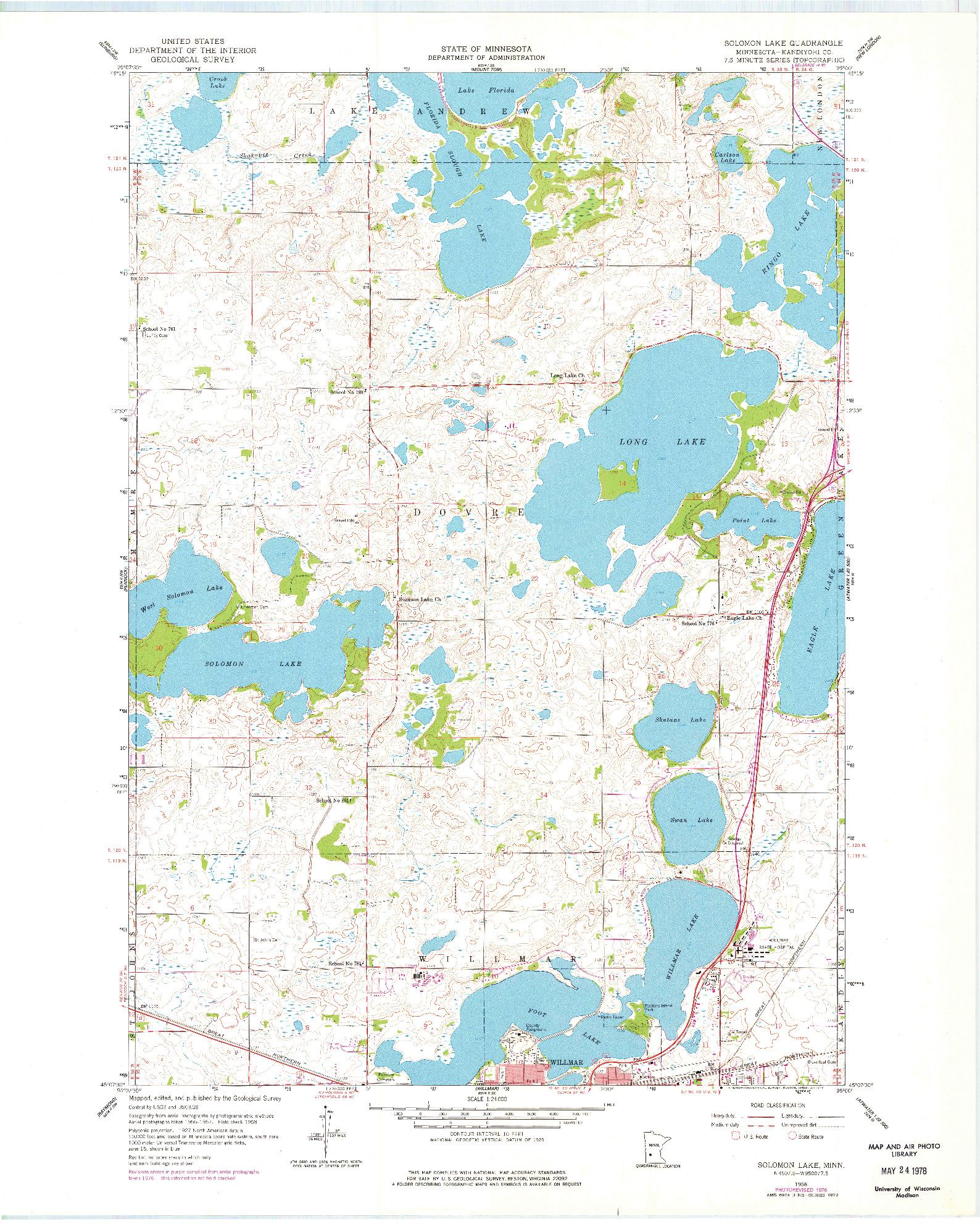 USGS 1:24000-SCALE QUADRANGLE FOR SOLOMON LAKE, MN 1958